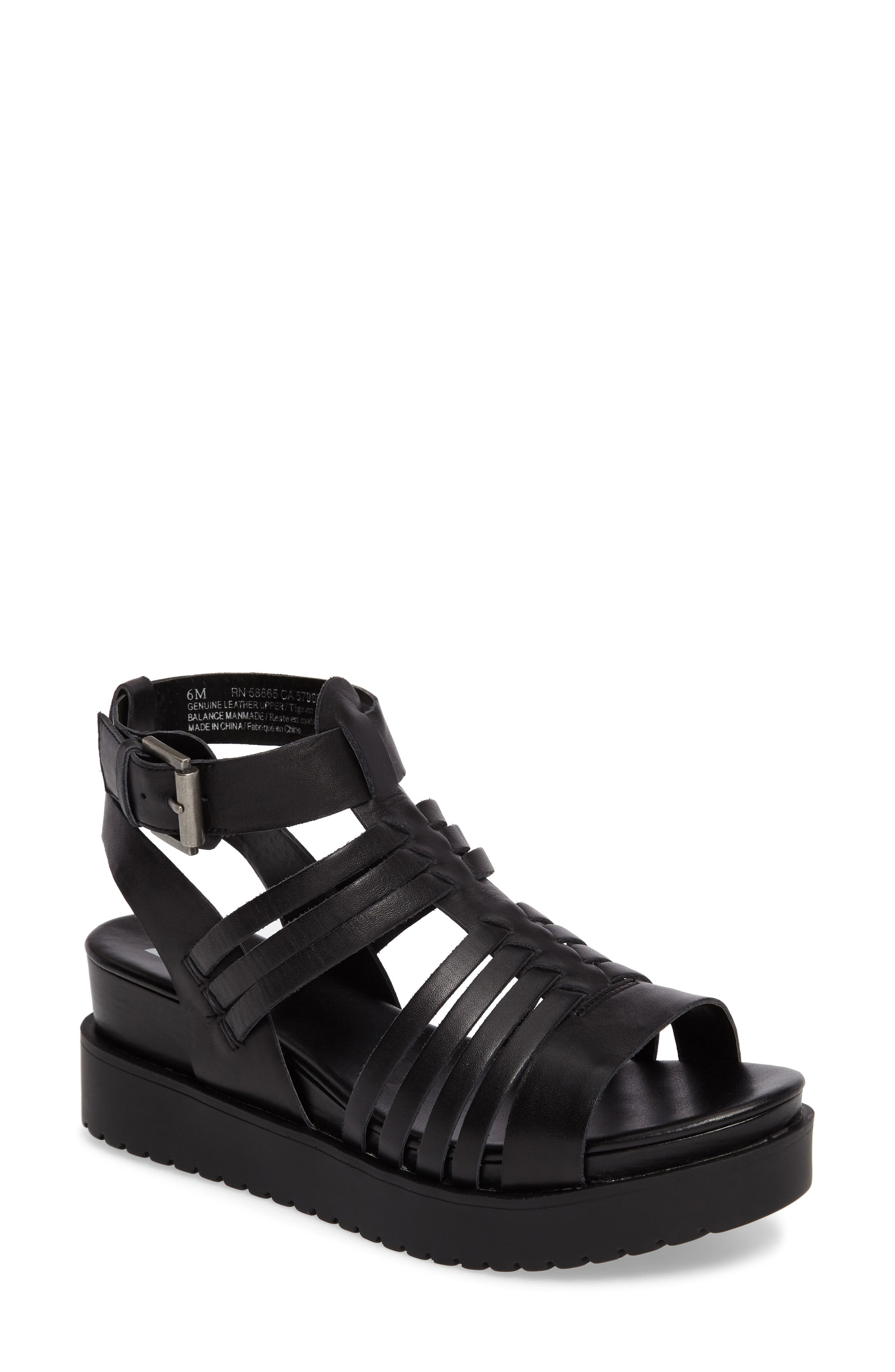 Ronnie Gladiator Platform Sandal,                             Main thumbnail 1, color,                             Black Leather
