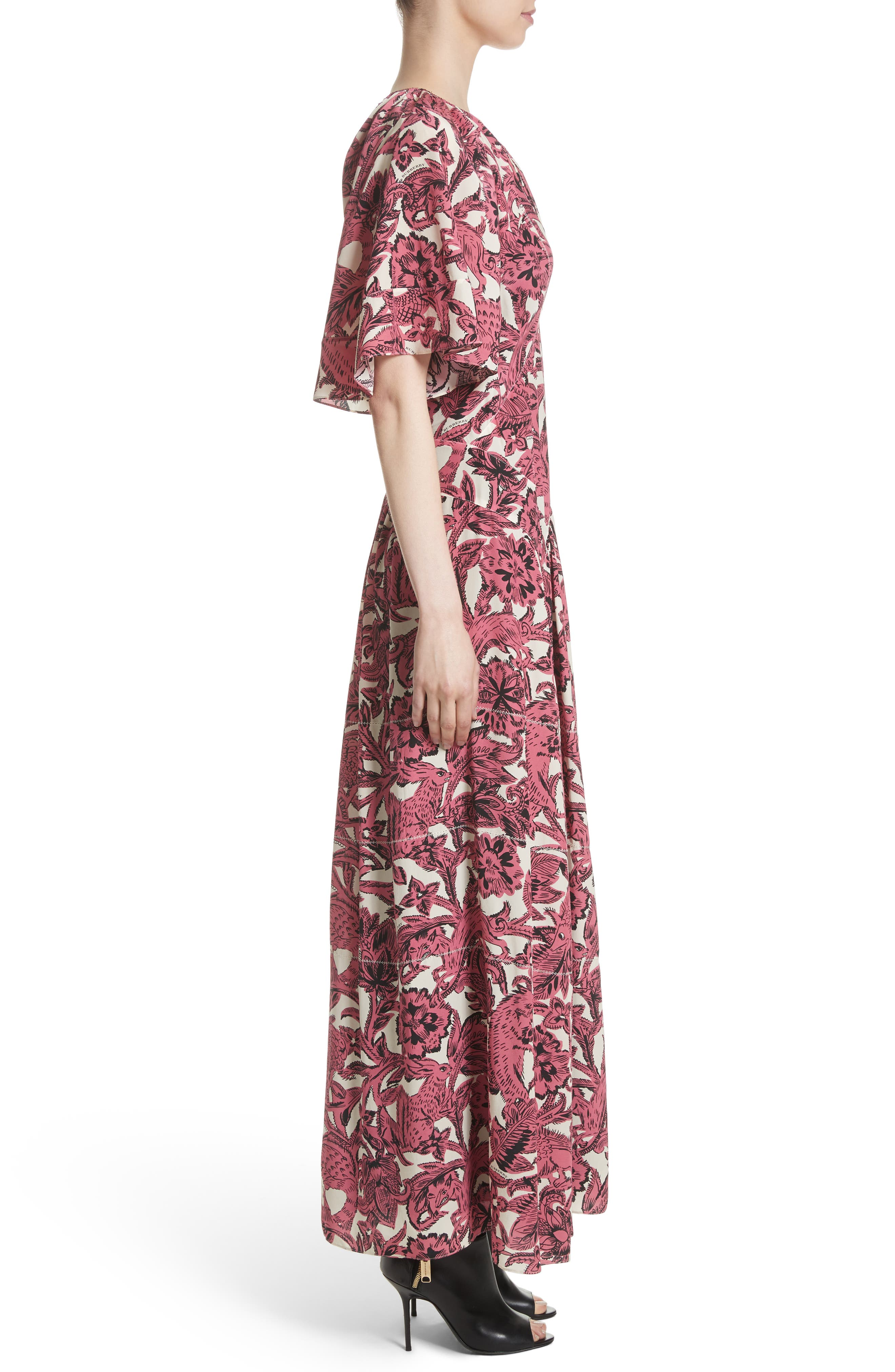 Hallie Silk Dress,                             Alternate thumbnail 3, color,                             Pink Azalea
