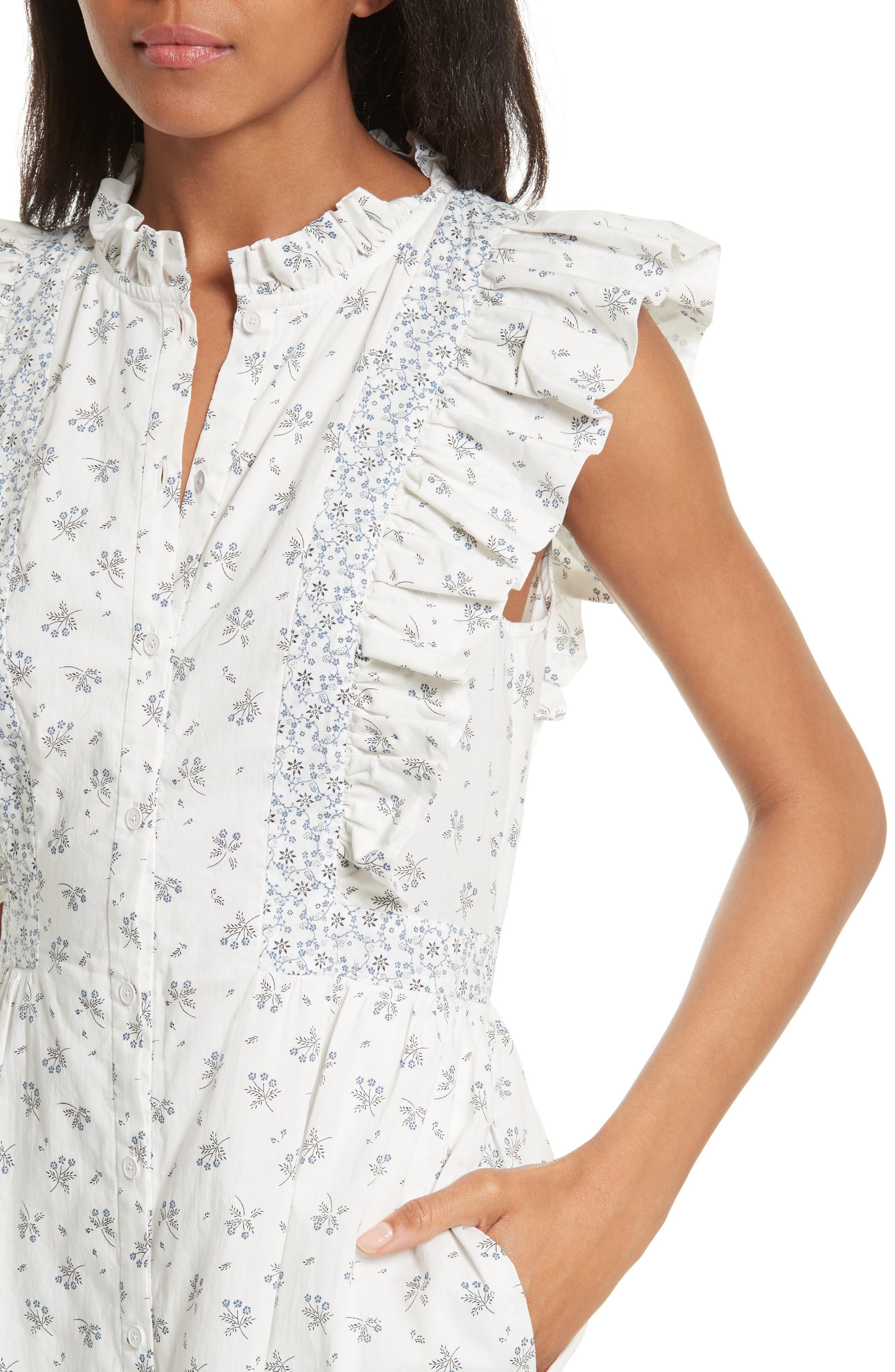 Alternate Image 4  - La Vie Rebecca Taylor Breeze Print Ruffle Shirtdress