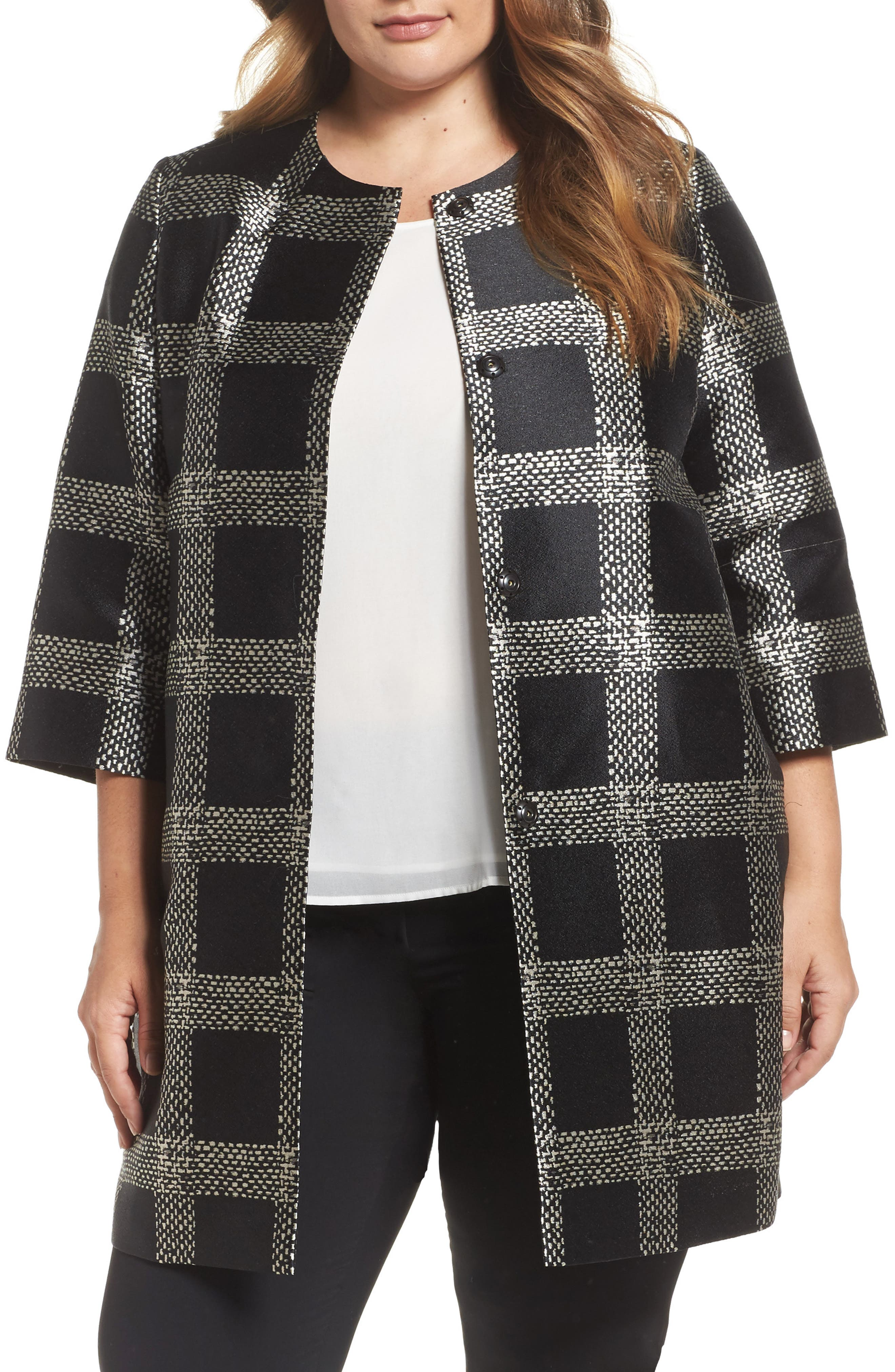 Noa Plaid Topper,                         Main,                         color, Black