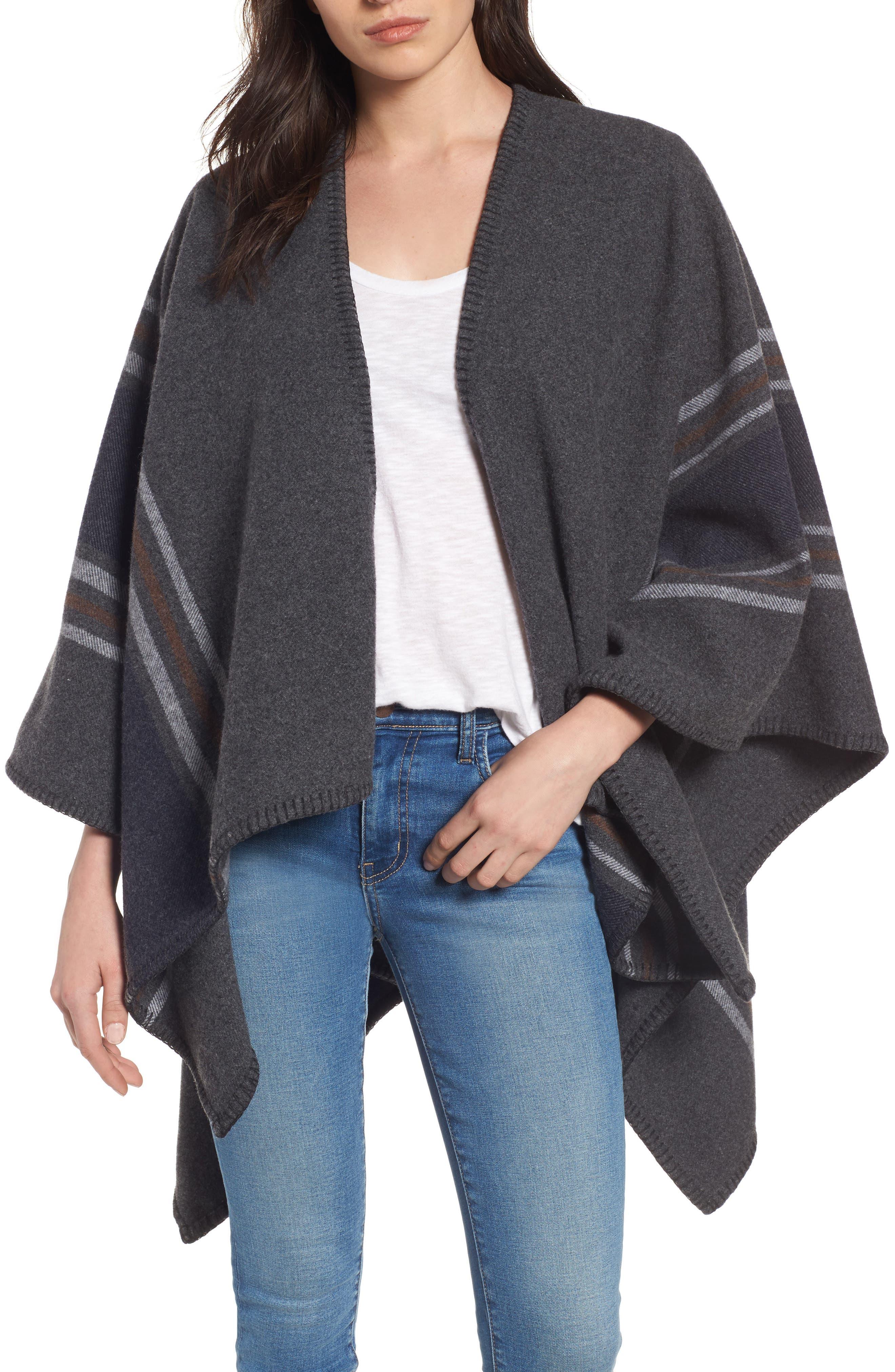 Addison Stripe Wool Wrap,                         Main,                         color, Dark Grey