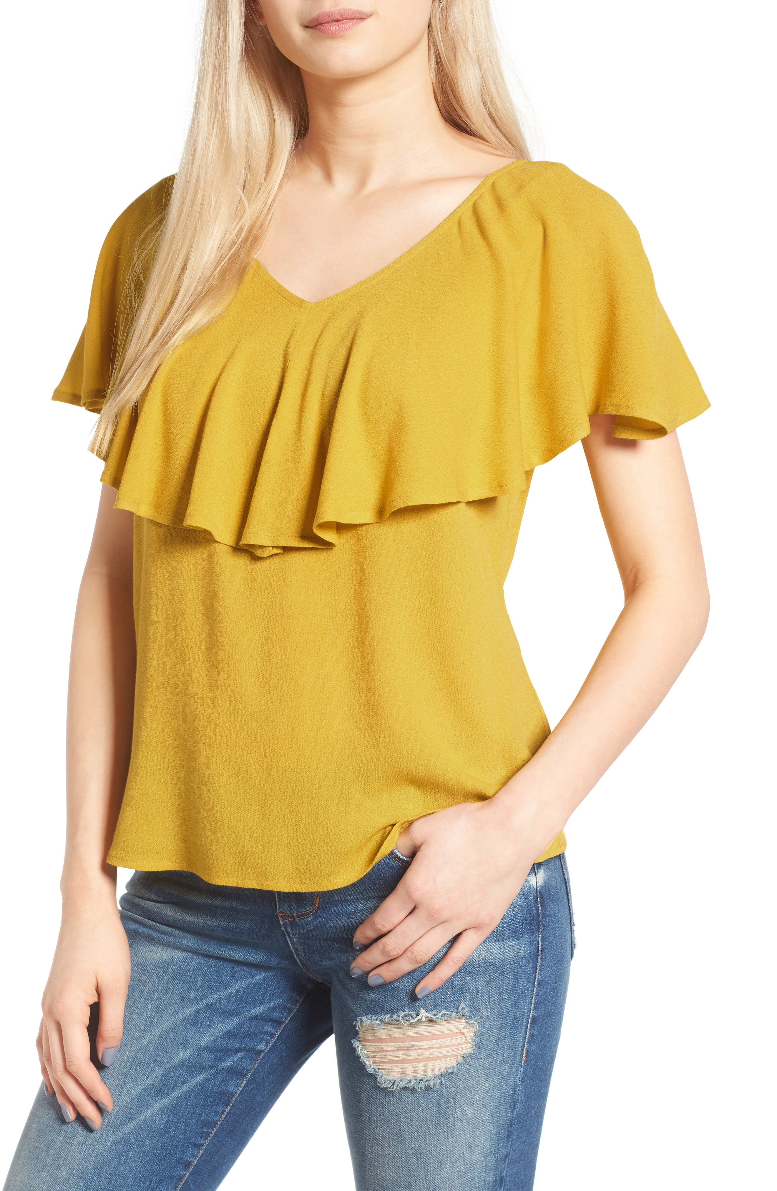 Ruffle Top,                             Main thumbnail 1, color,                             Olive Curry
