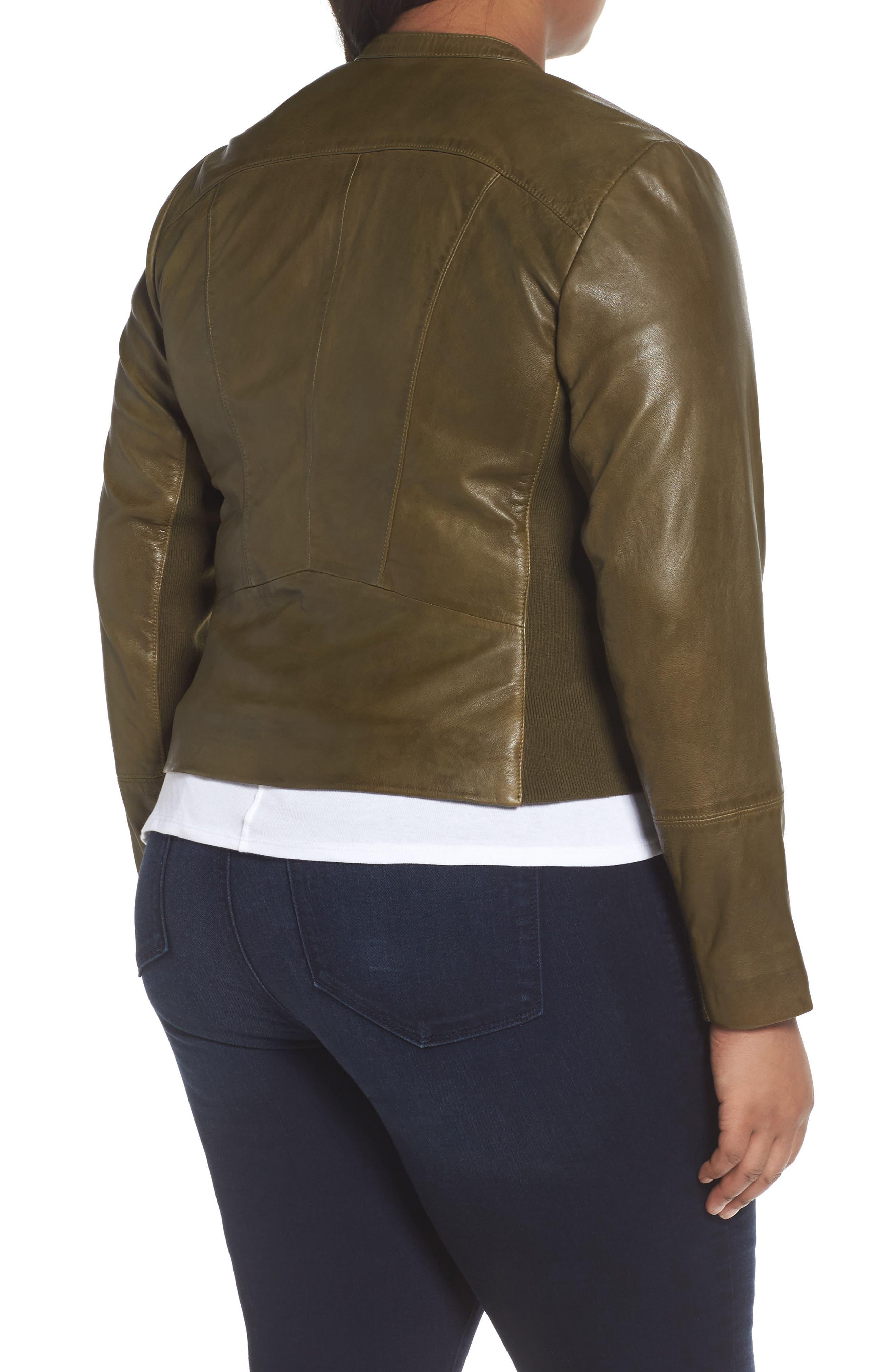 Alternate Image 2  - Sejour Leather Moto Jacket (Plus Size)