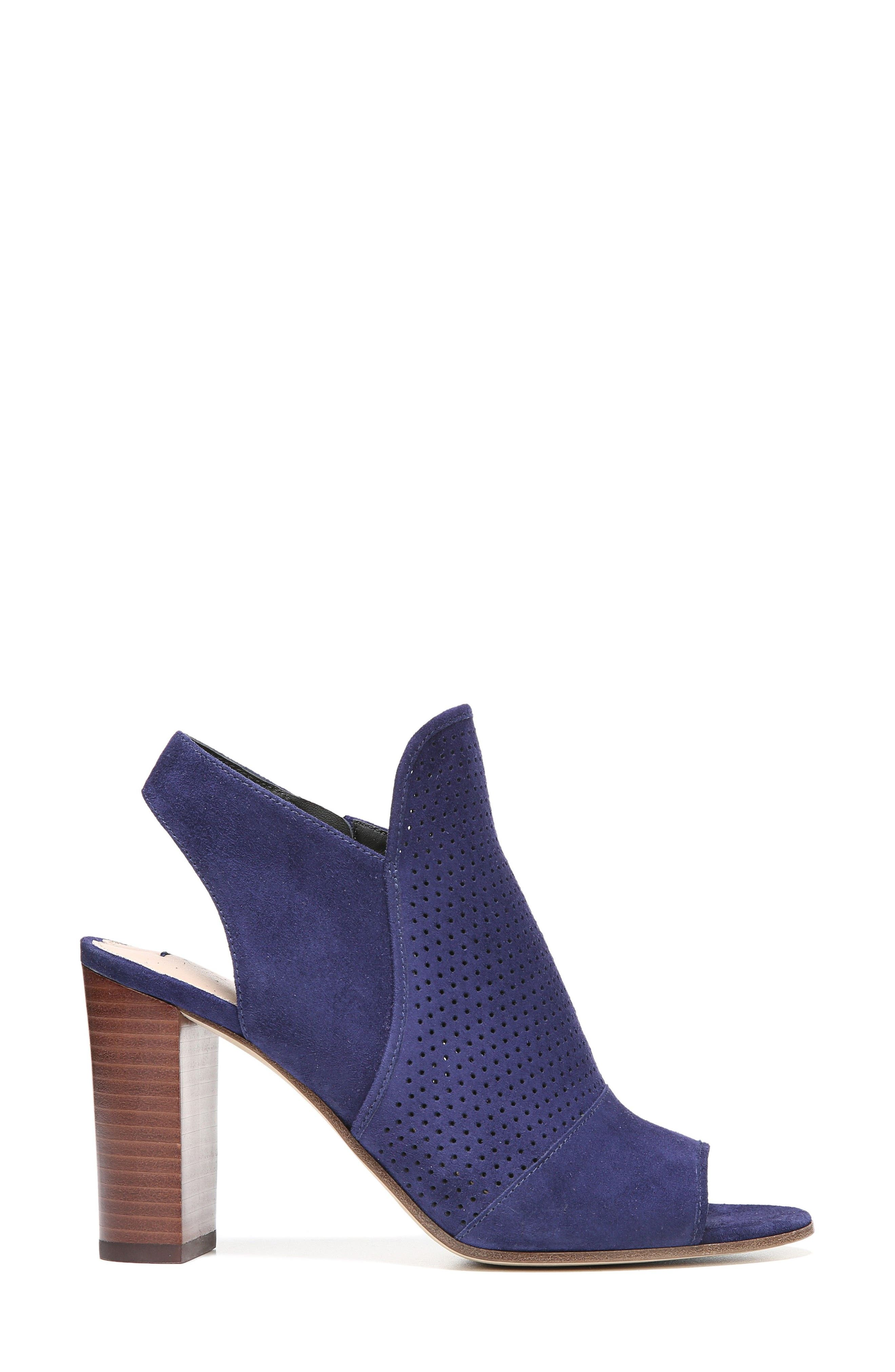 Gaze Block Heel Sandal,                             Alternate thumbnail 3, color,                             Marina Blue Suede