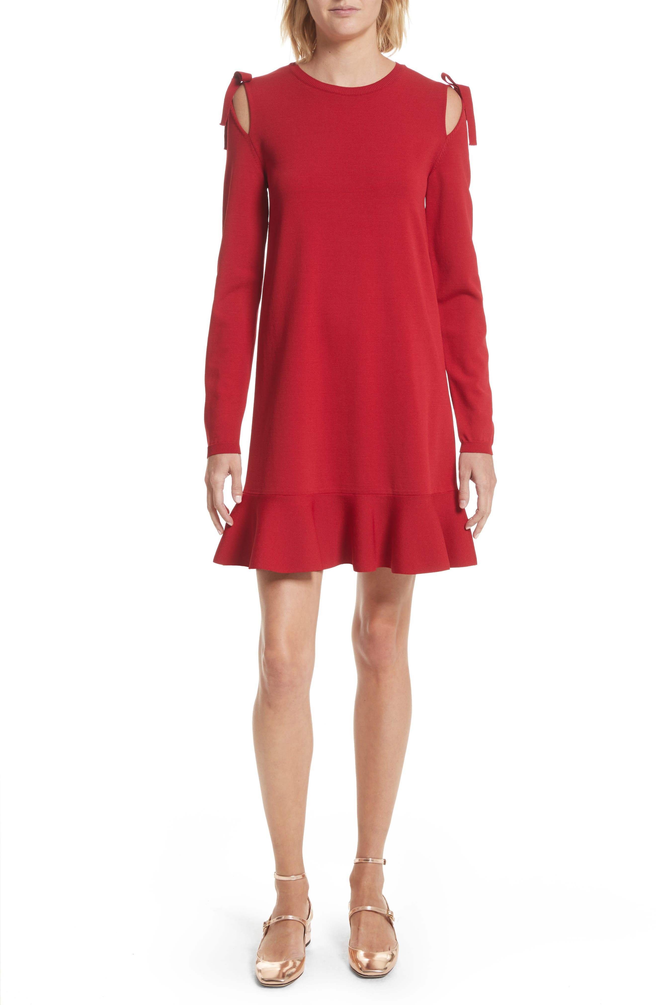 Bow Knit Dress,                         Main,                         color, Lacca