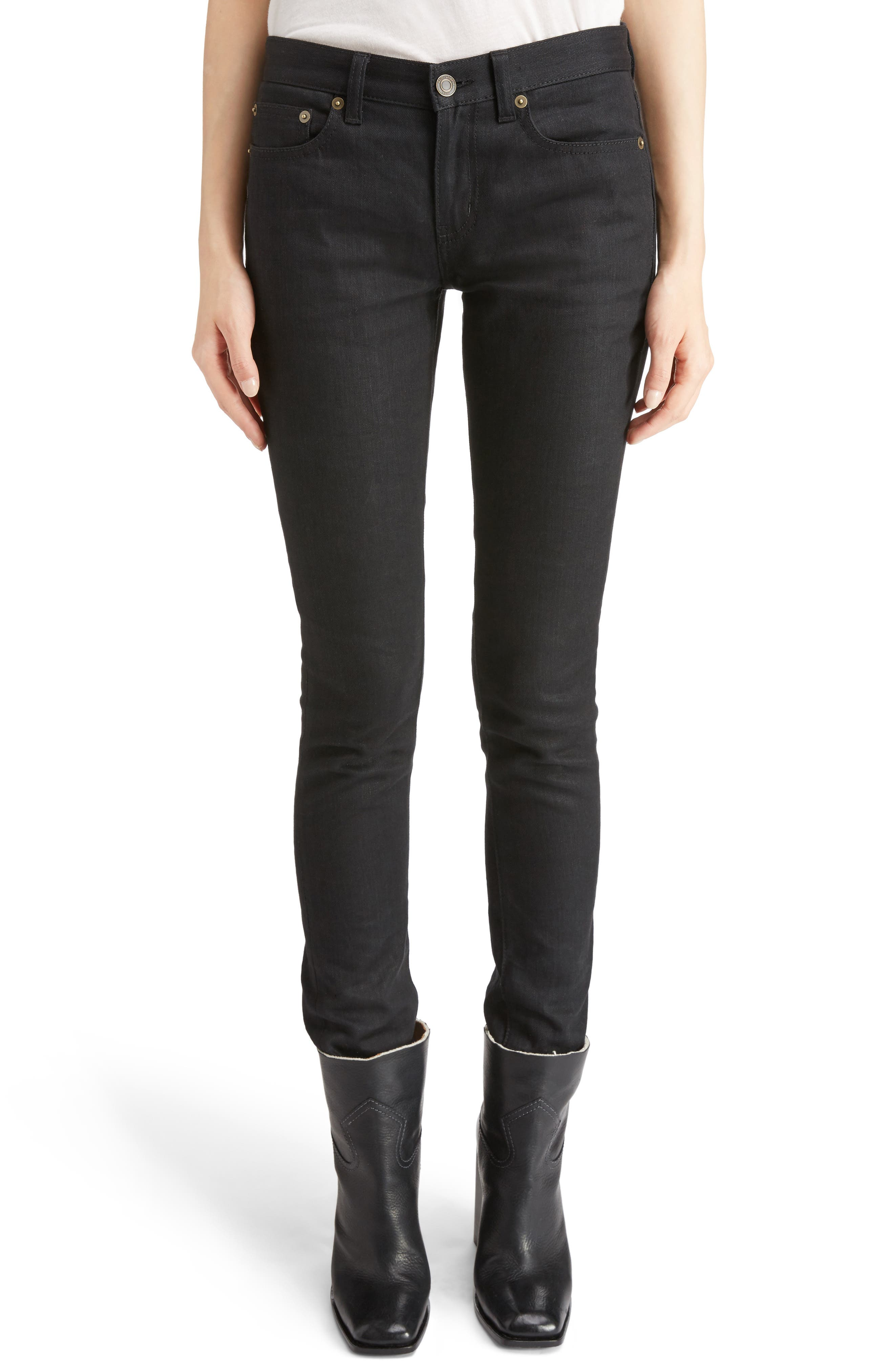 Alternate Image 1 Selected - Saint Laurent High Waist Skinny Jeans