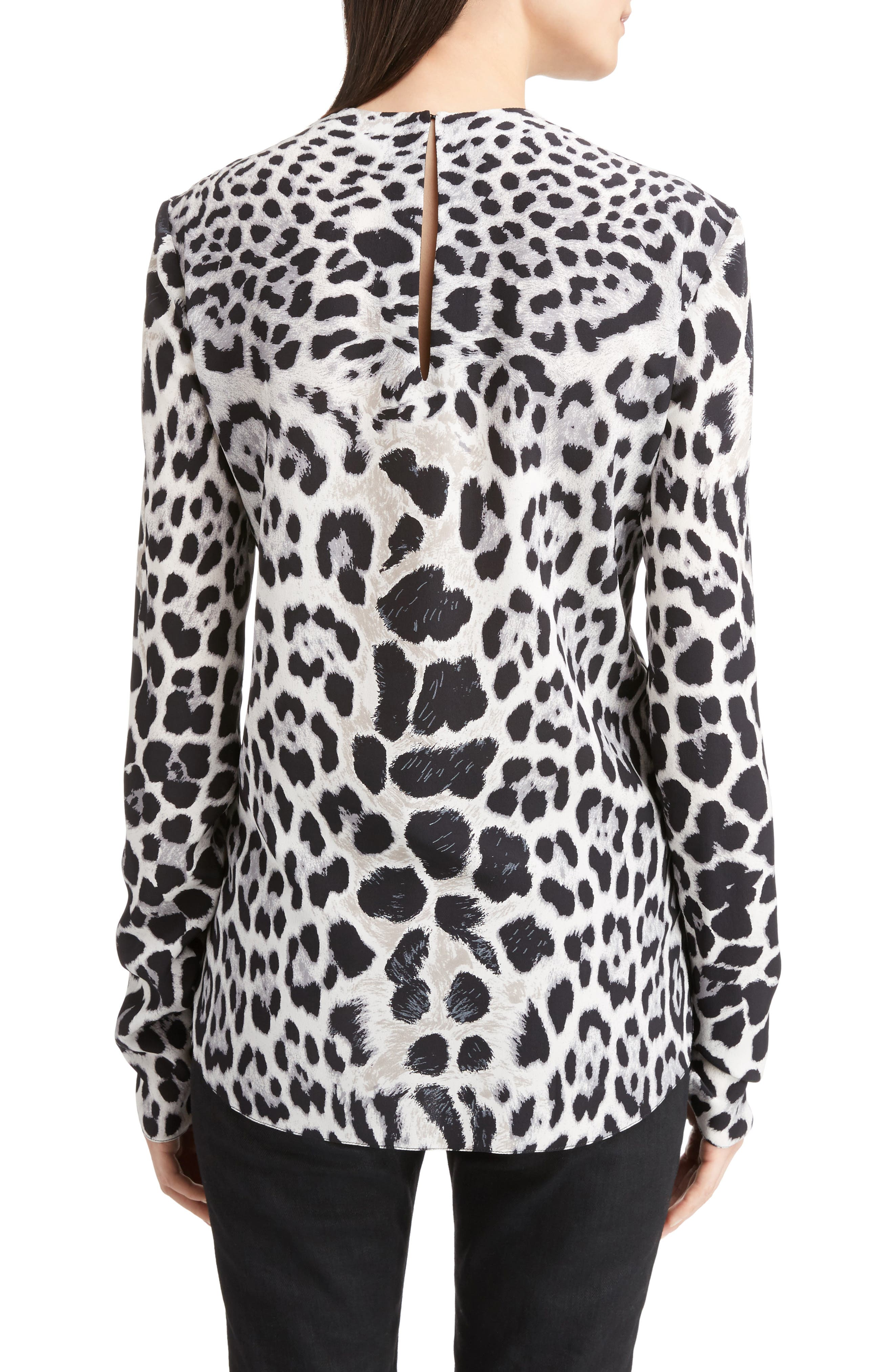 Alternate Image 2  - Saint Laurent Logo & Leopard Print Silk Crêpe de Chine Blouse