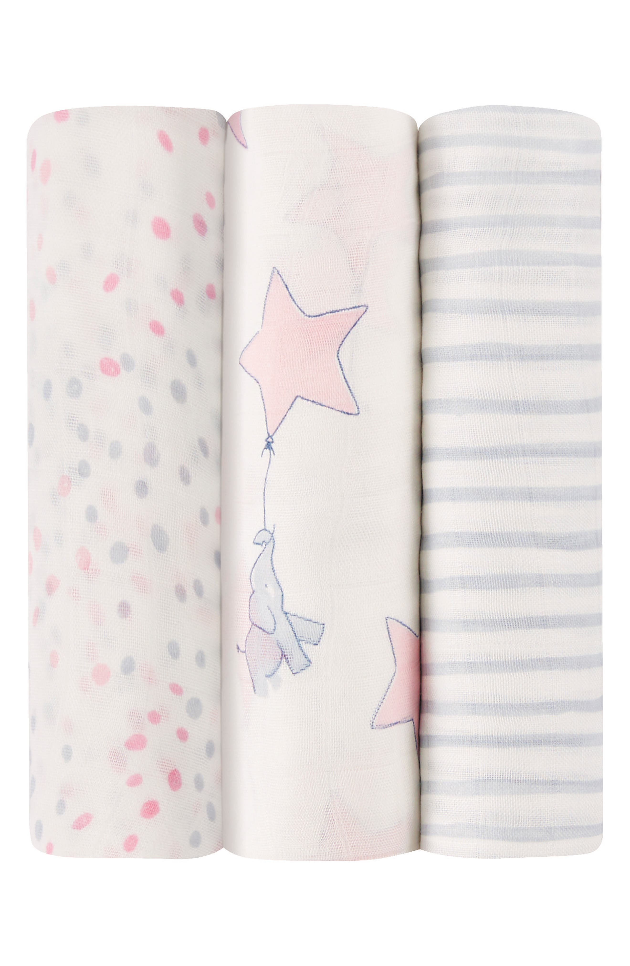 Silky Soft Pack of 3 Swaddling Cloths,                         Main,                         color, Elephant Star/ Blush