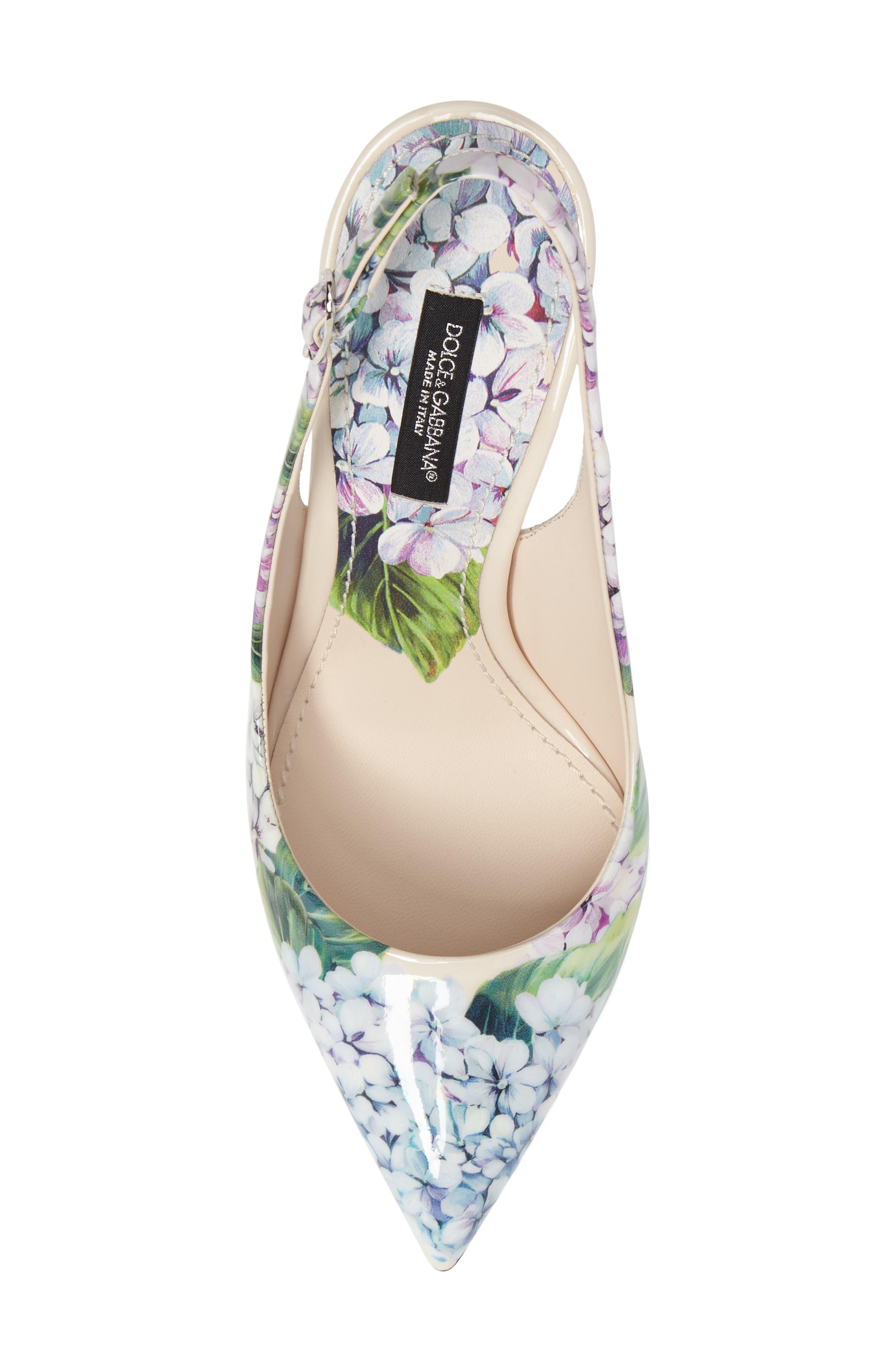 Hydrangea Slingback Sandal,                             Alternate thumbnail 5, color,                             White Floral