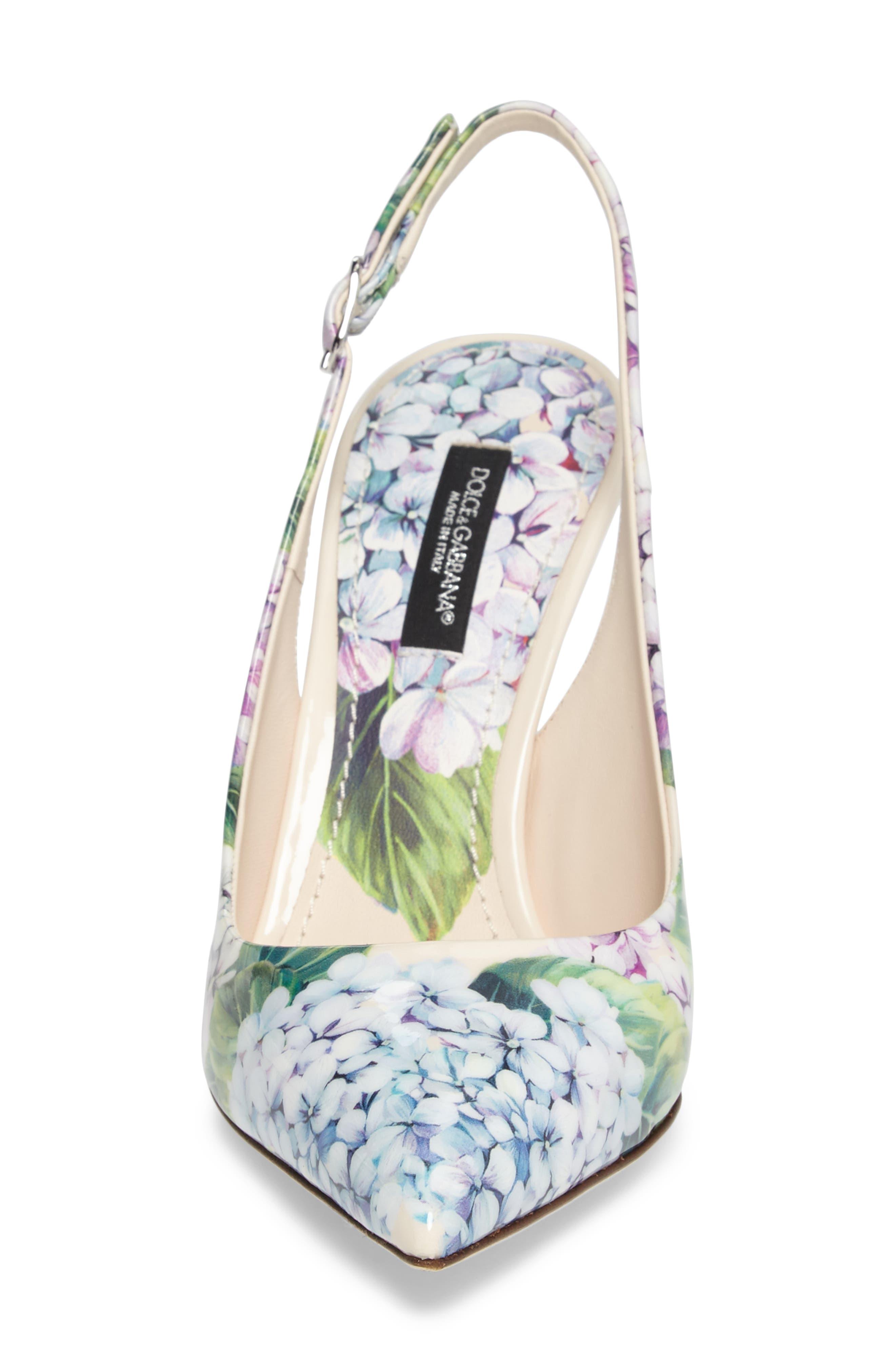 Hydrangea Slingback Sandal,                             Alternate thumbnail 4, color,                             White Floral