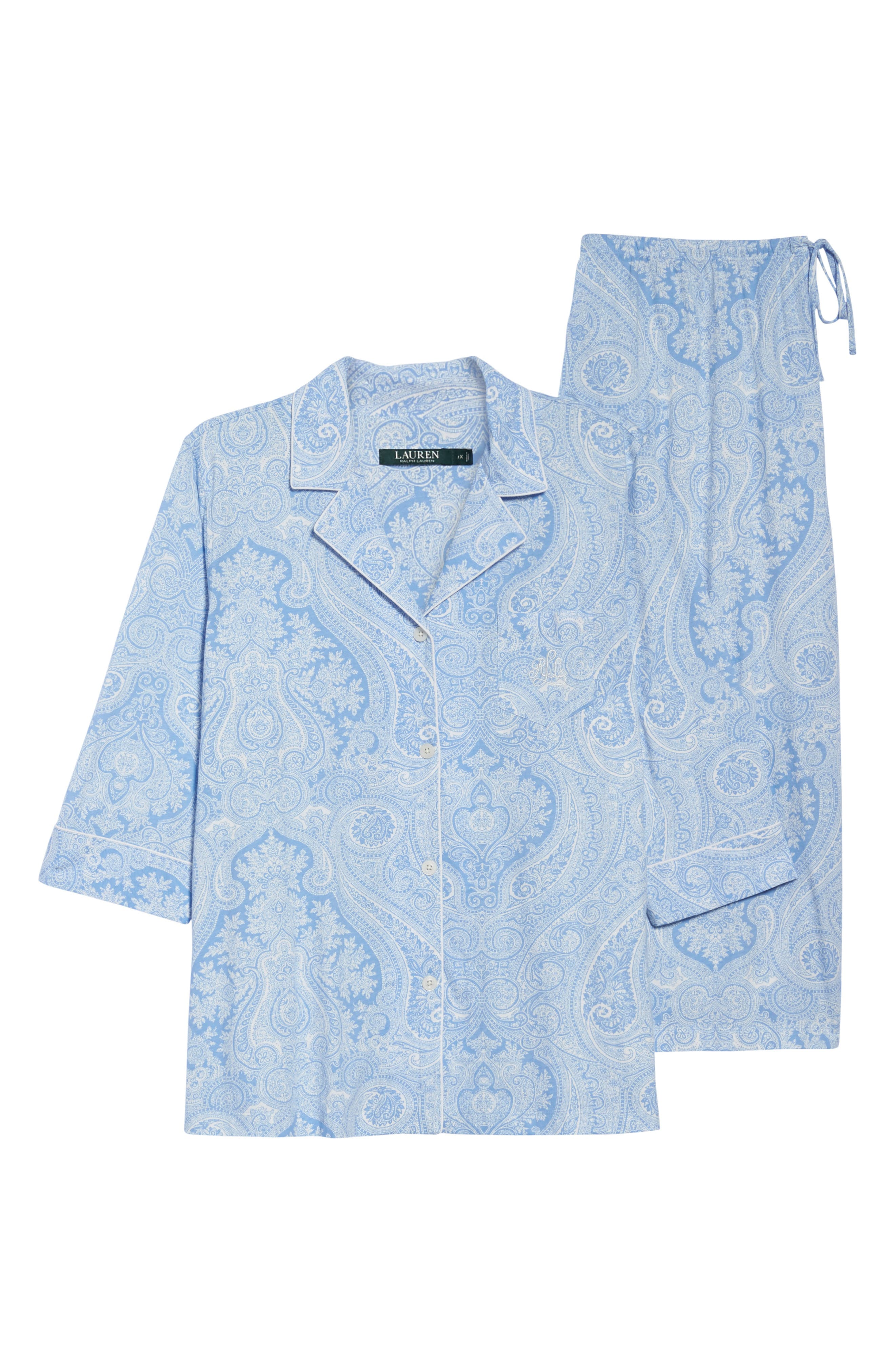 Alternate Image 4  - Lauren Ralph Lauren Knit Crop Pajamas (Plus Size) (Online Only)