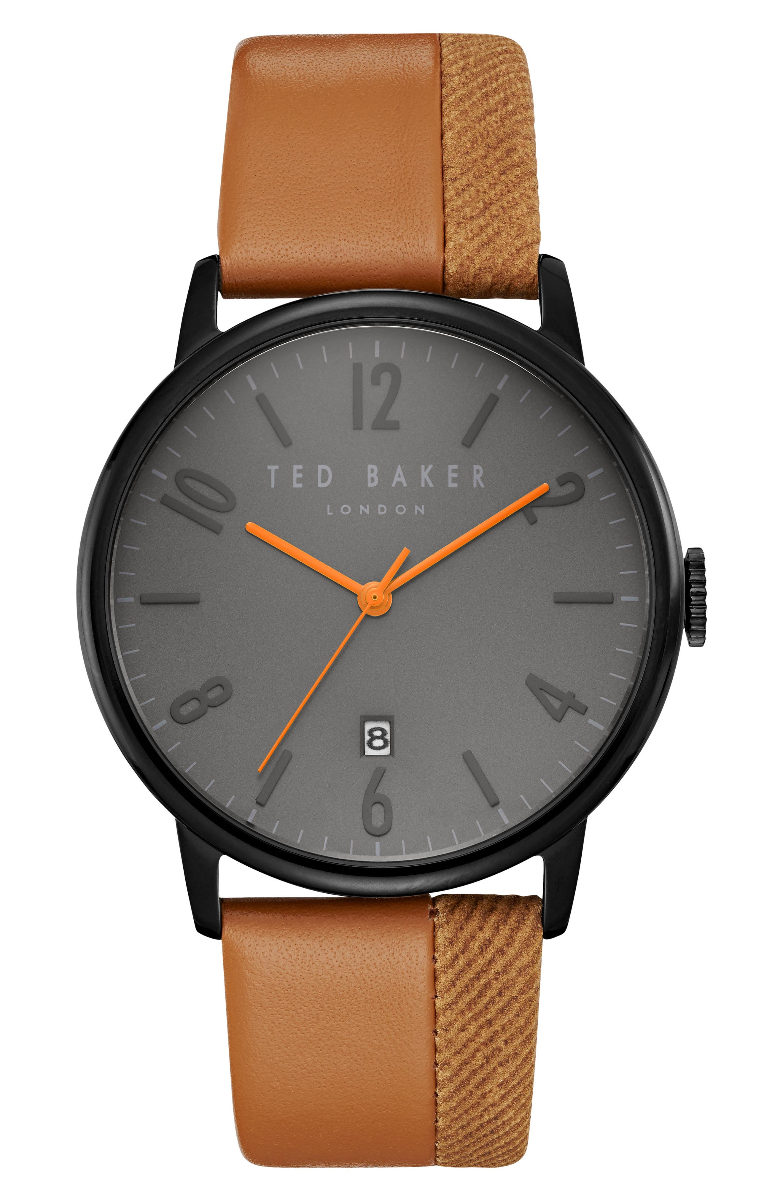 Ted Baker London Thomas Leather Strap Watch, 42mm