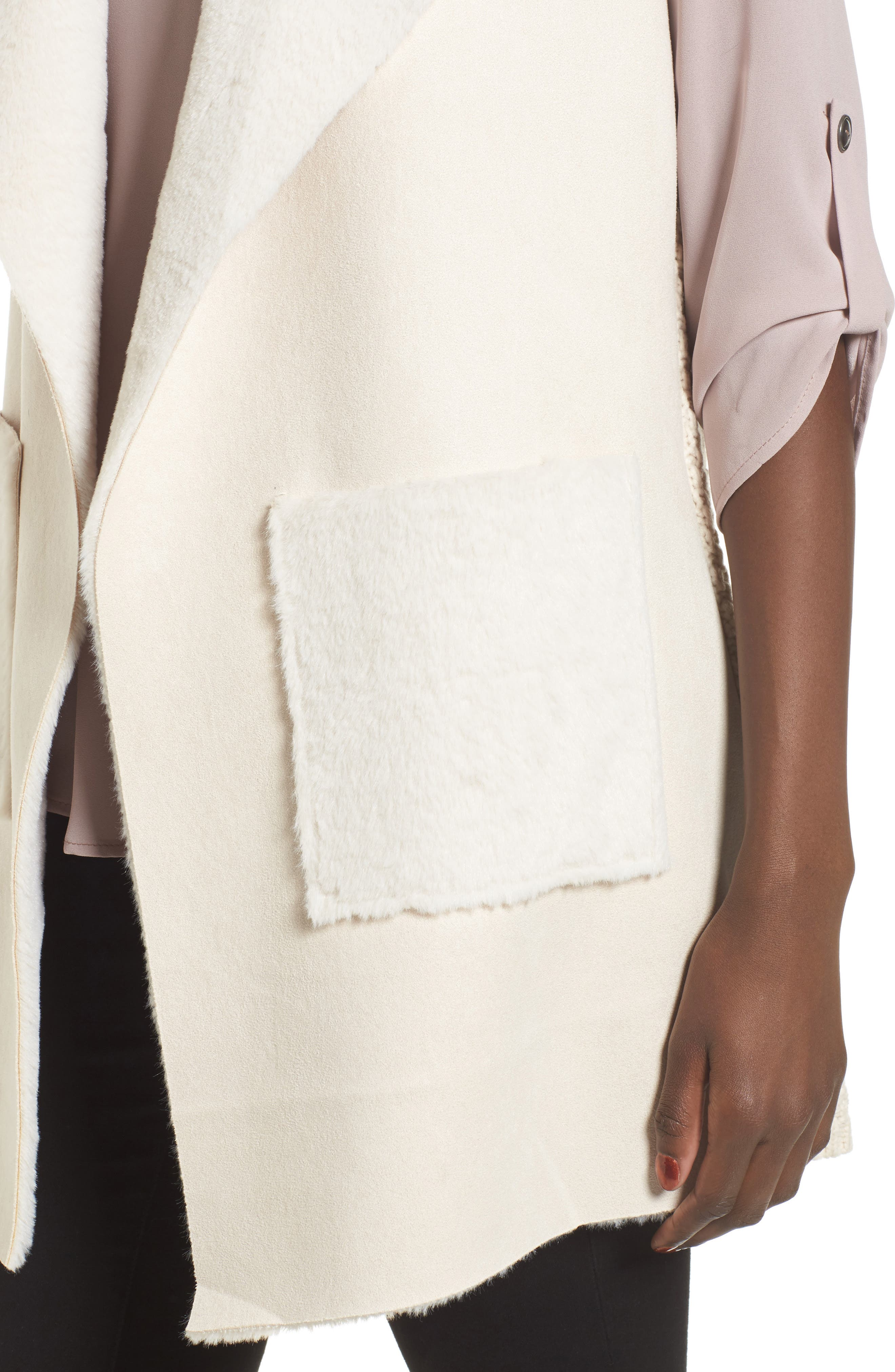 Faux Shearling Vest,                             Alternate thumbnail 4, color,                             Ivory