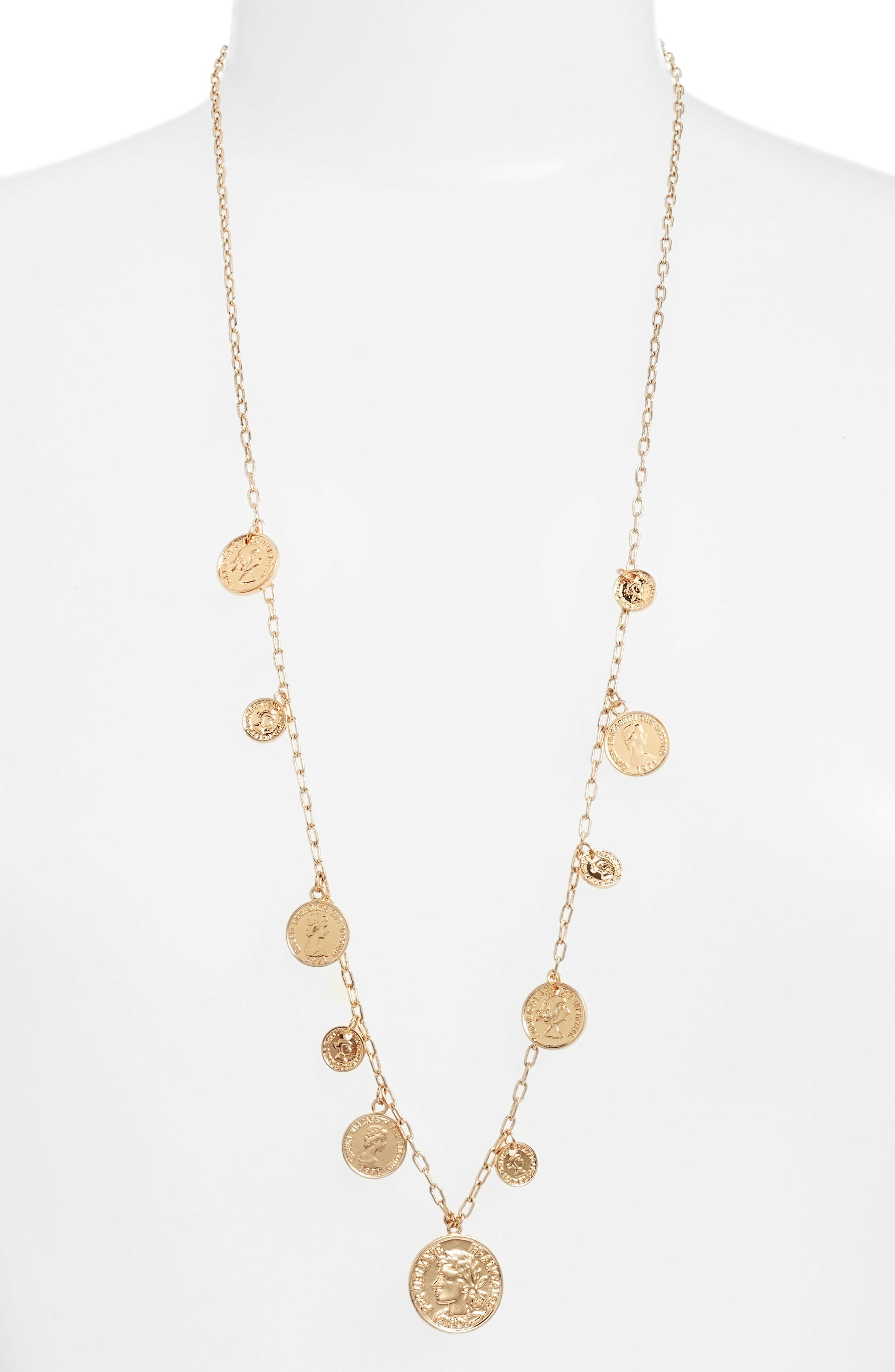 Coin Charm Necklace,                         Main,                         color, Gold