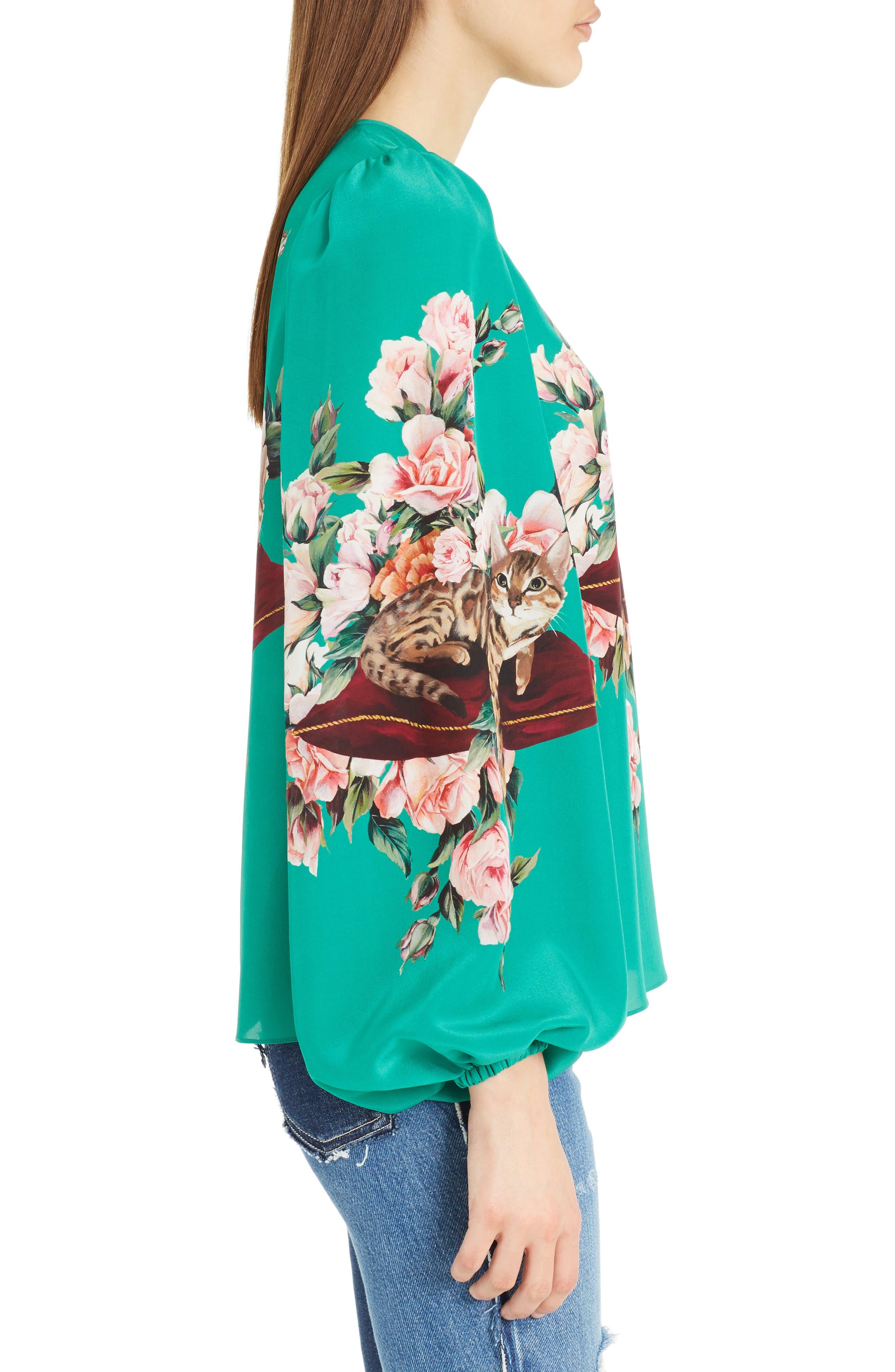 Alternate Image 3  - Dolce&Gabbana Cat Print Silk Bell Sleeve Blouse
