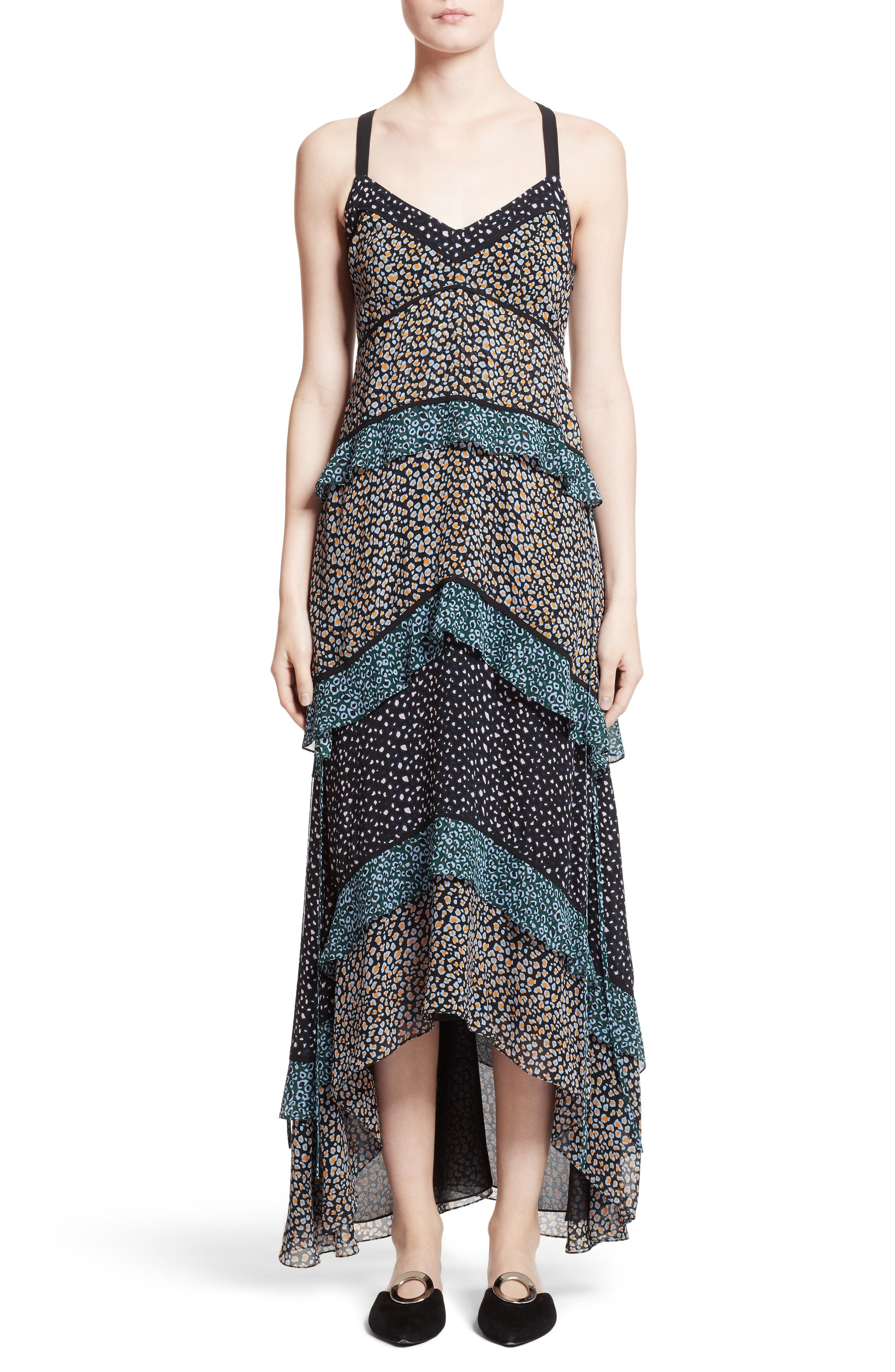 Proenza Schouler Print Silk Tiered Maxi Dress