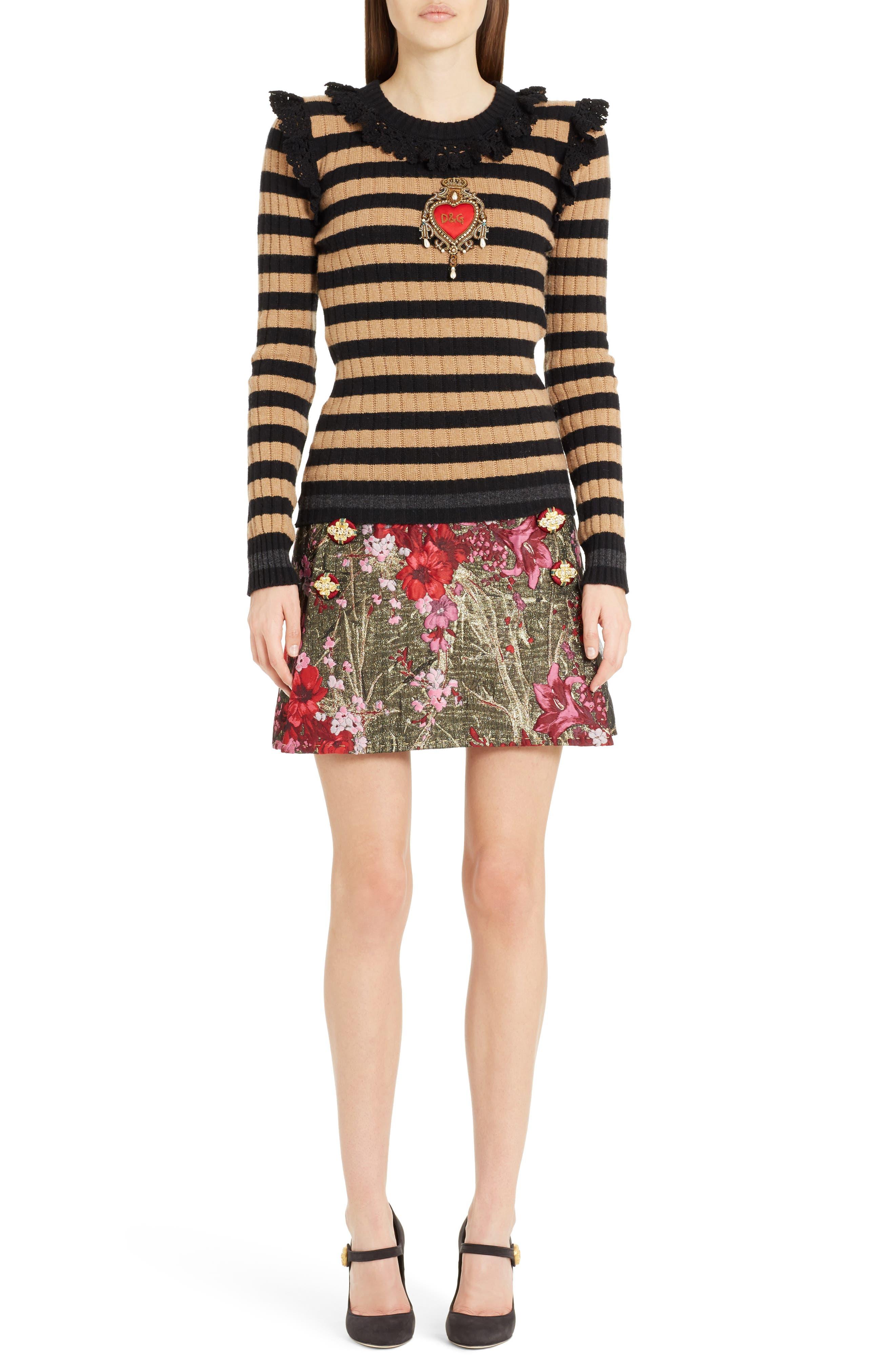 Heart Patch Stripe Wool & Cashmere Sweater,                             Alternate thumbnail 6, color,                             Camel/ Black Stripe