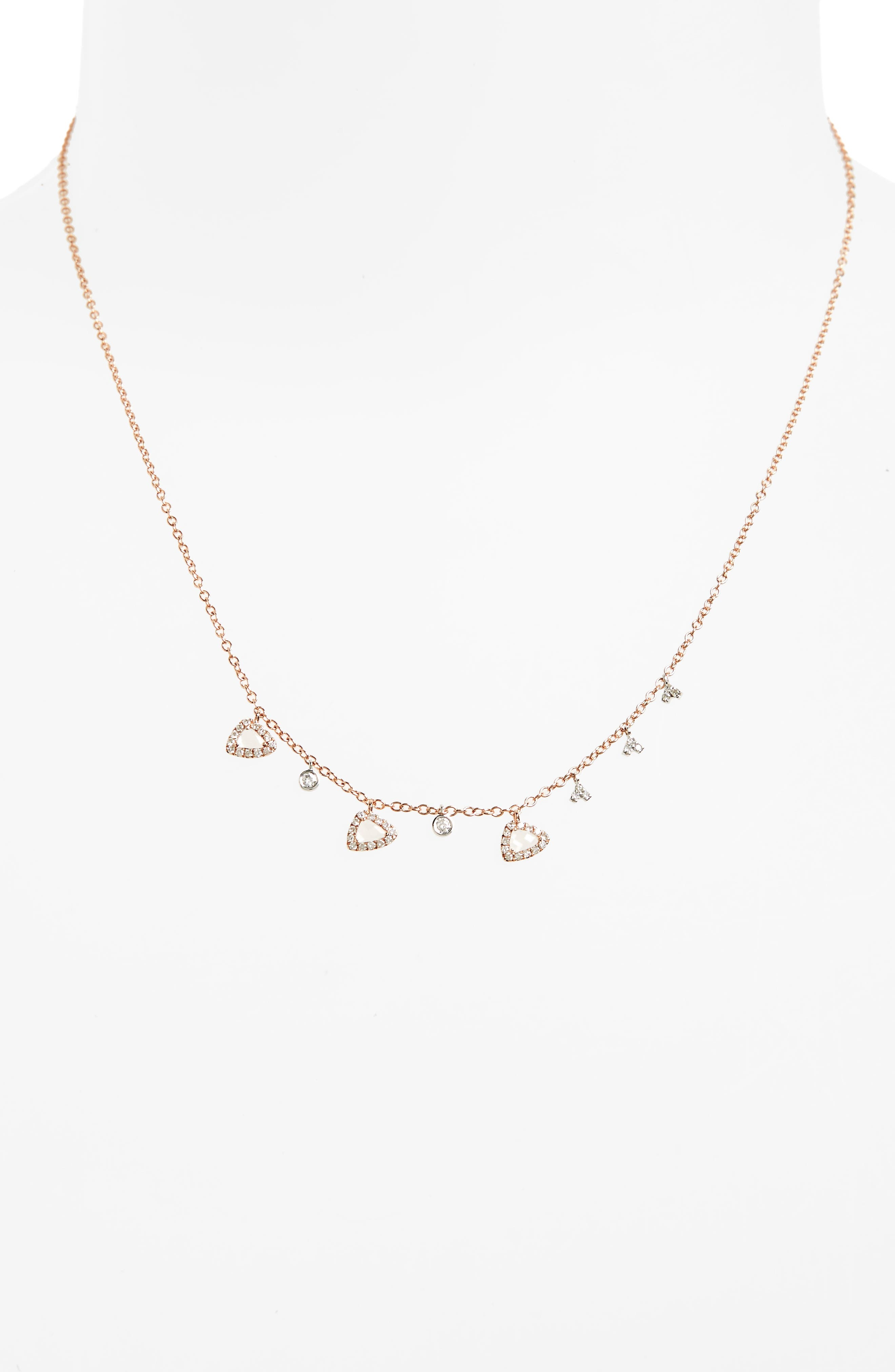 Semiprecious Stone Frontal Necklace,                             Alternate thumbnail 2, color,                             Rose Gold
