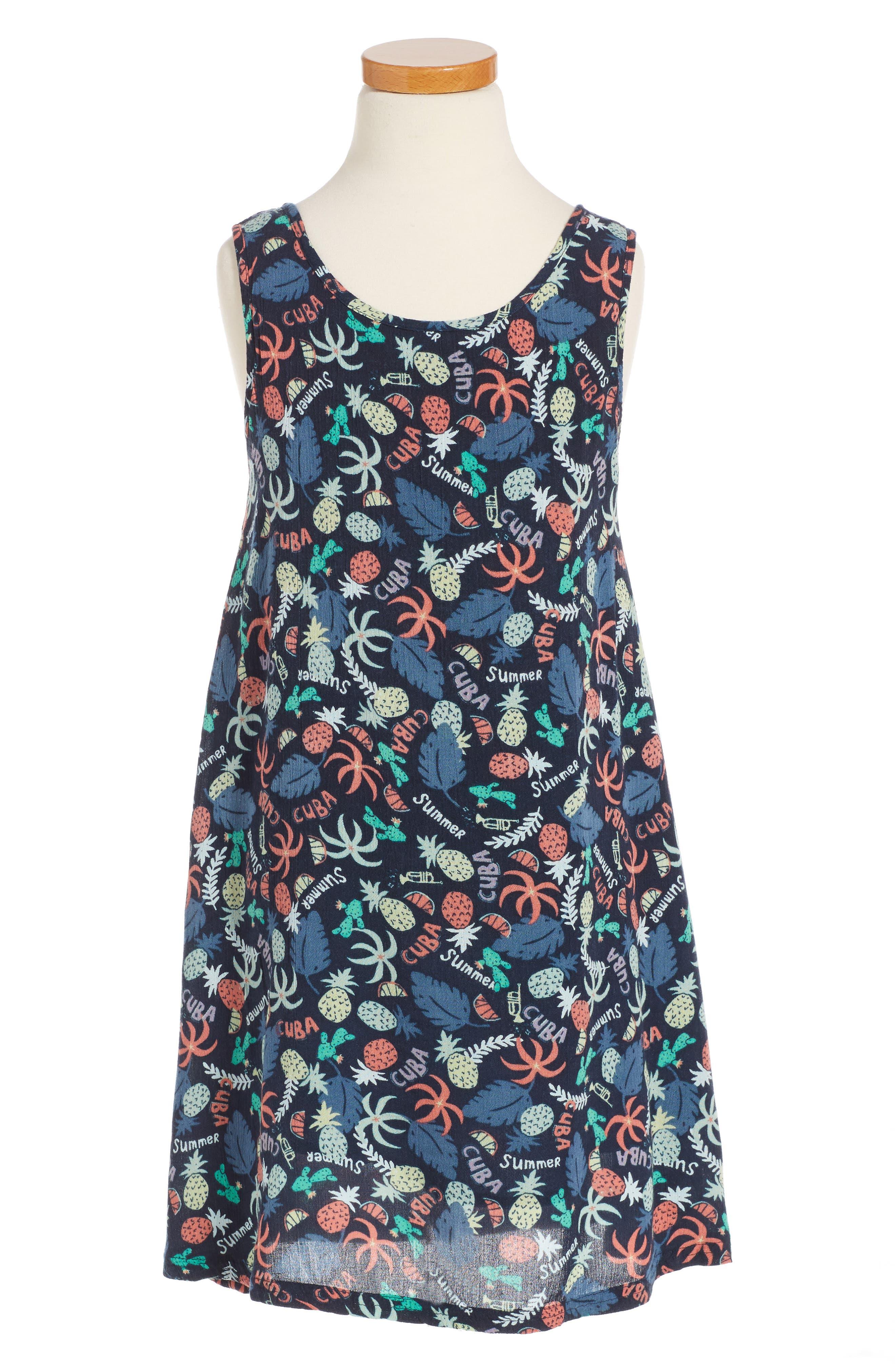 Everyone On A Run Print Dress,                         Main,                         color, Blue
