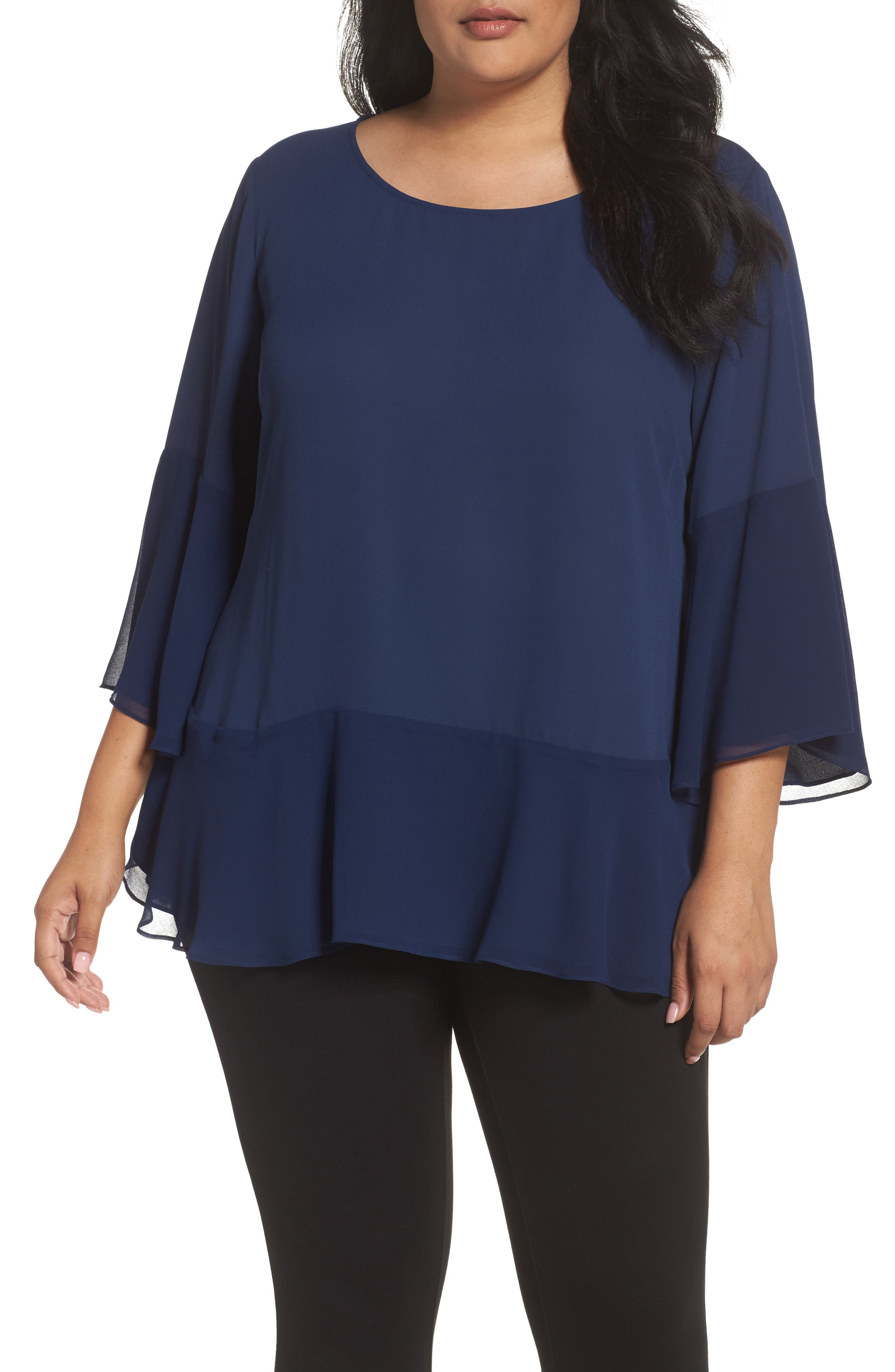 Flare Sleeve Double Layer Top,                         Main,                         color, Navy Medieval