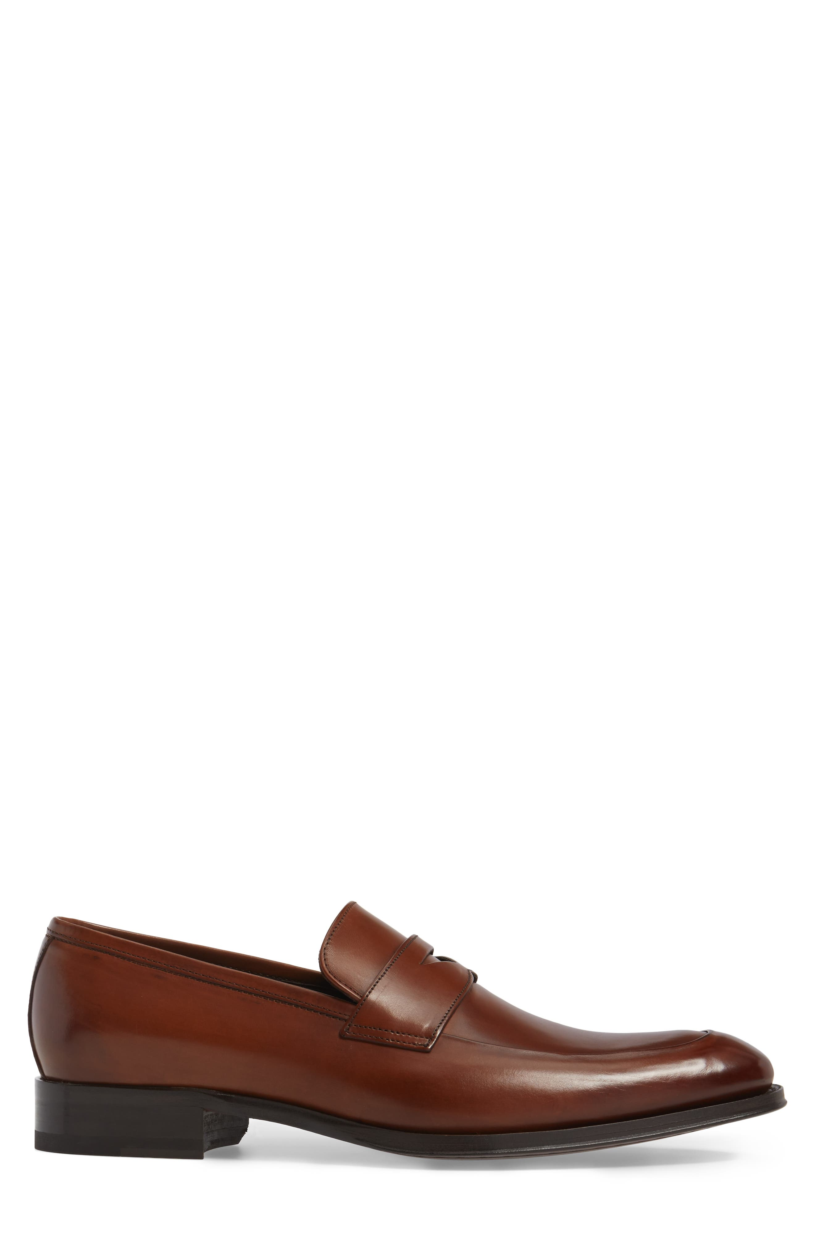 Francis Penny Loafer,                             Alternate thumbnail 3, color,                             Brown Leather