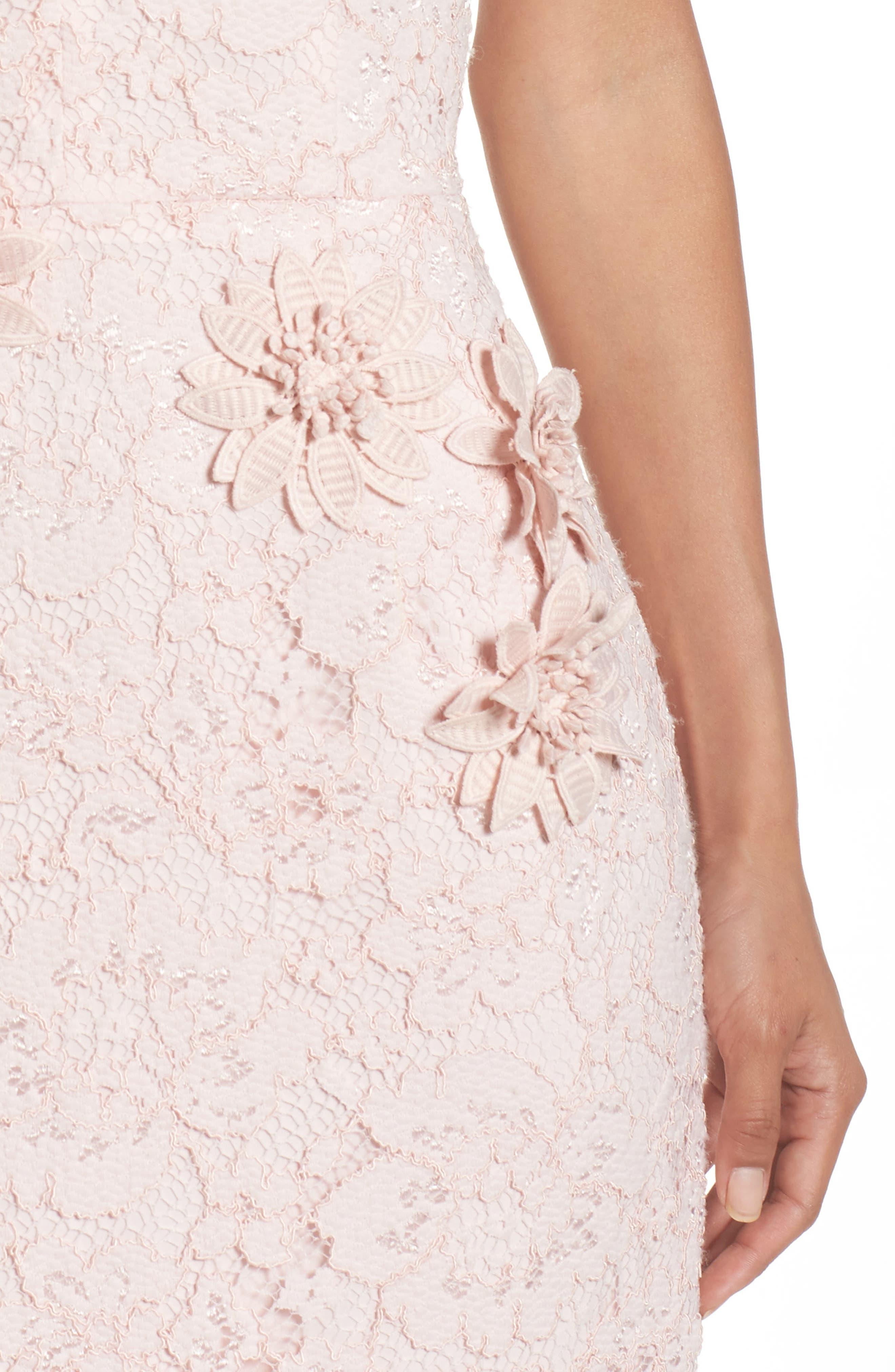 Appliqué Lace Sheath Dress,                             Alternate thumbnail 4, color,                             Rose