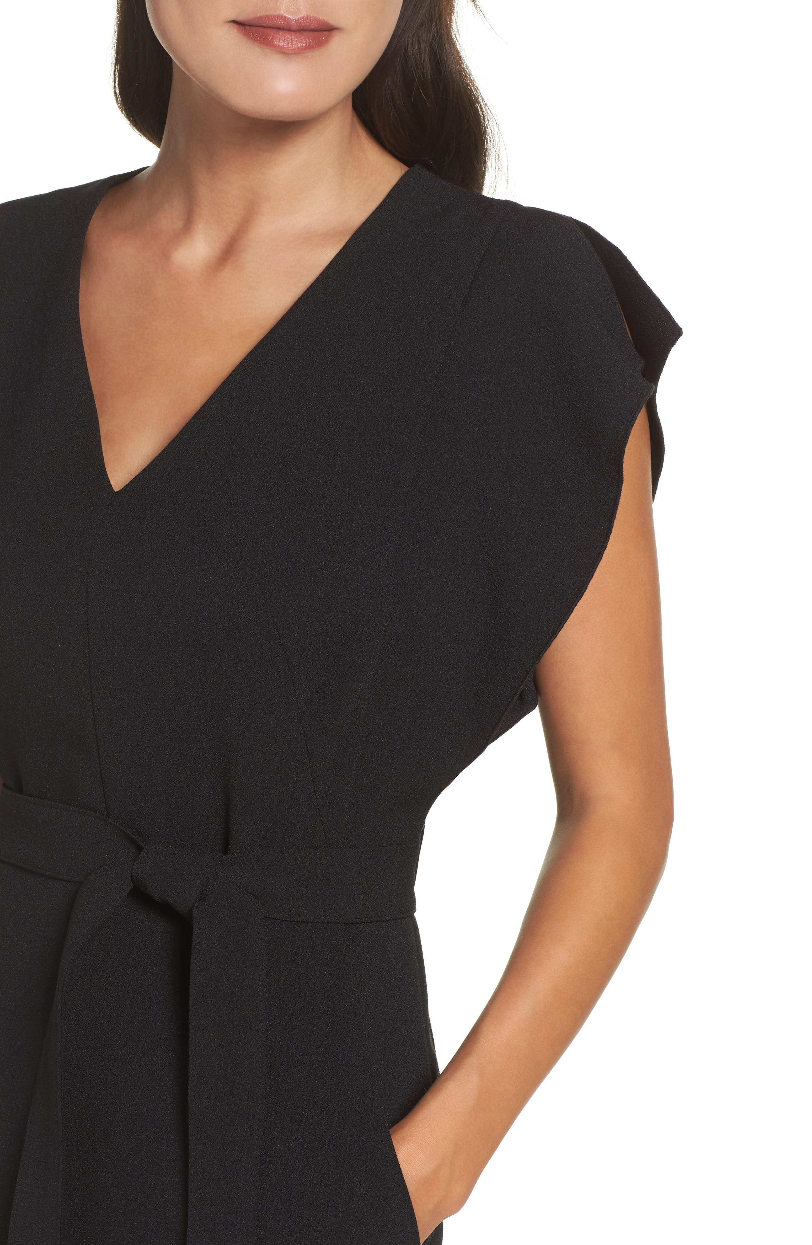 Ruffle Sleeve Sheath Dress,                             Alternate thumbnail 6, color,                             Black