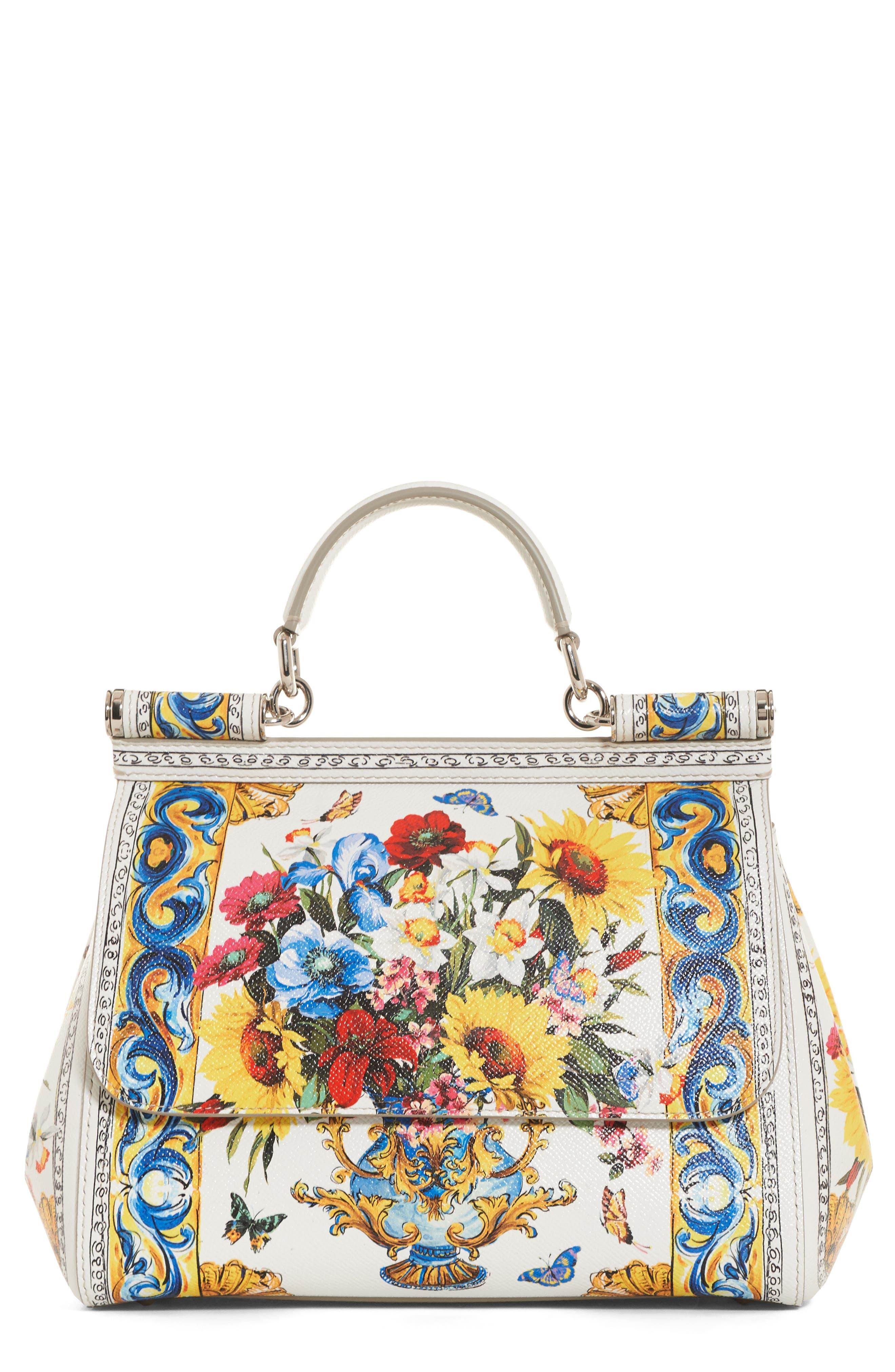 Dolce&Gabbana Medium Maiolica Fiori Sicily Leather Satchel