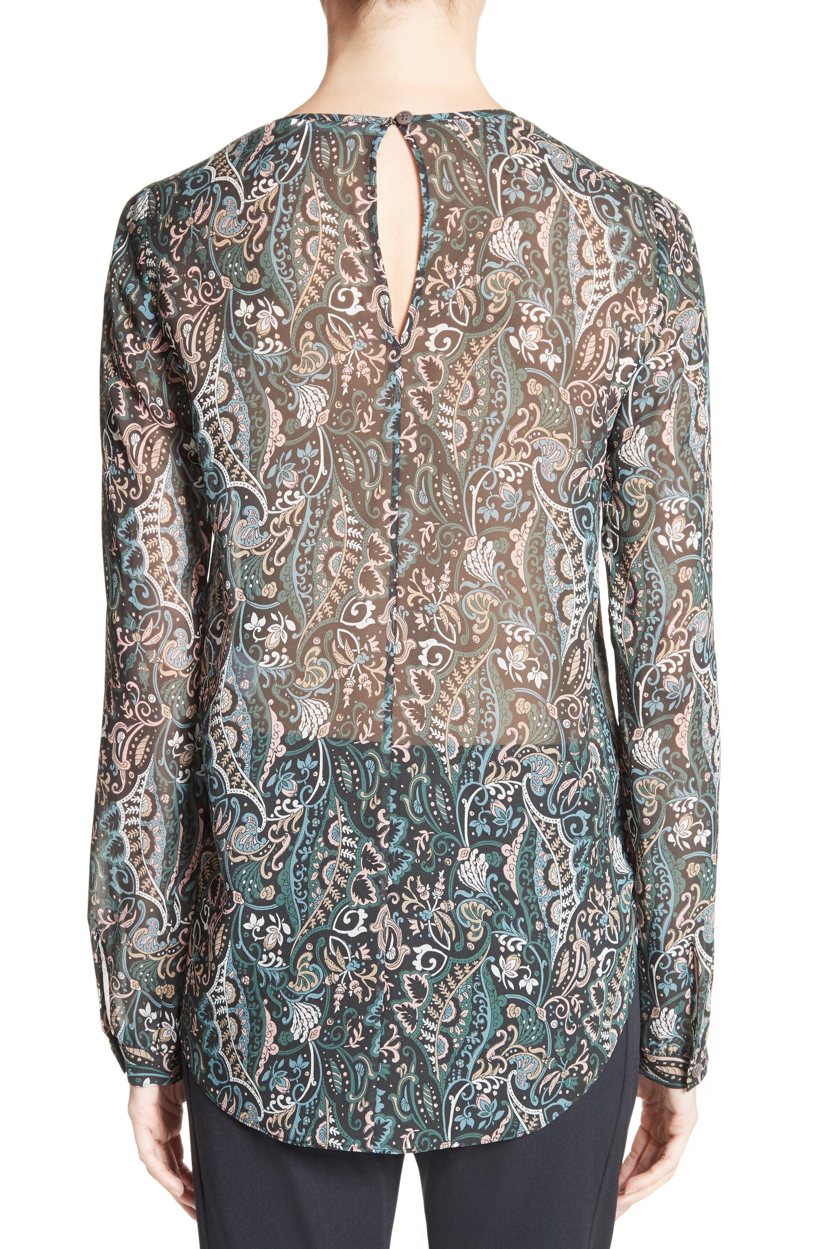 Gayle Paisley Print Silk Blouse,                             Alternate thumbnail 2, color,                             Nude/ Blue/ Green Multi