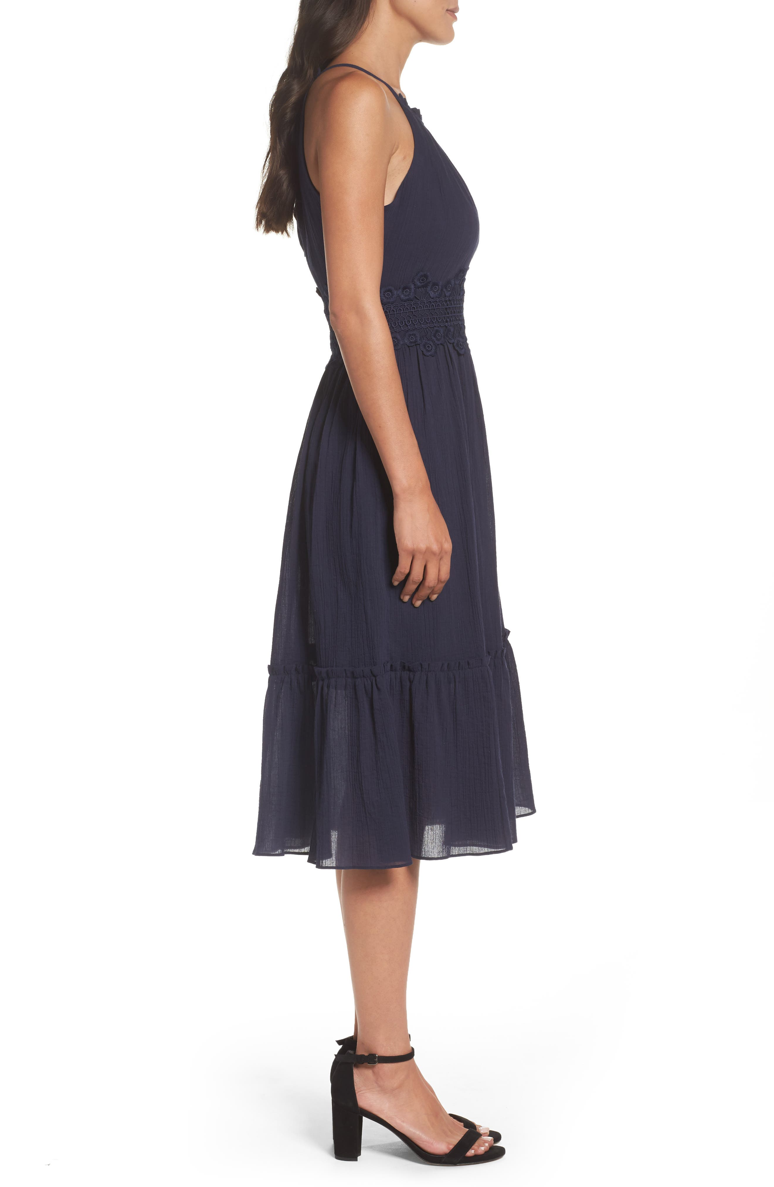 Halter Midi Dress,                             Alternate thumbnail 3, color,                             Navy