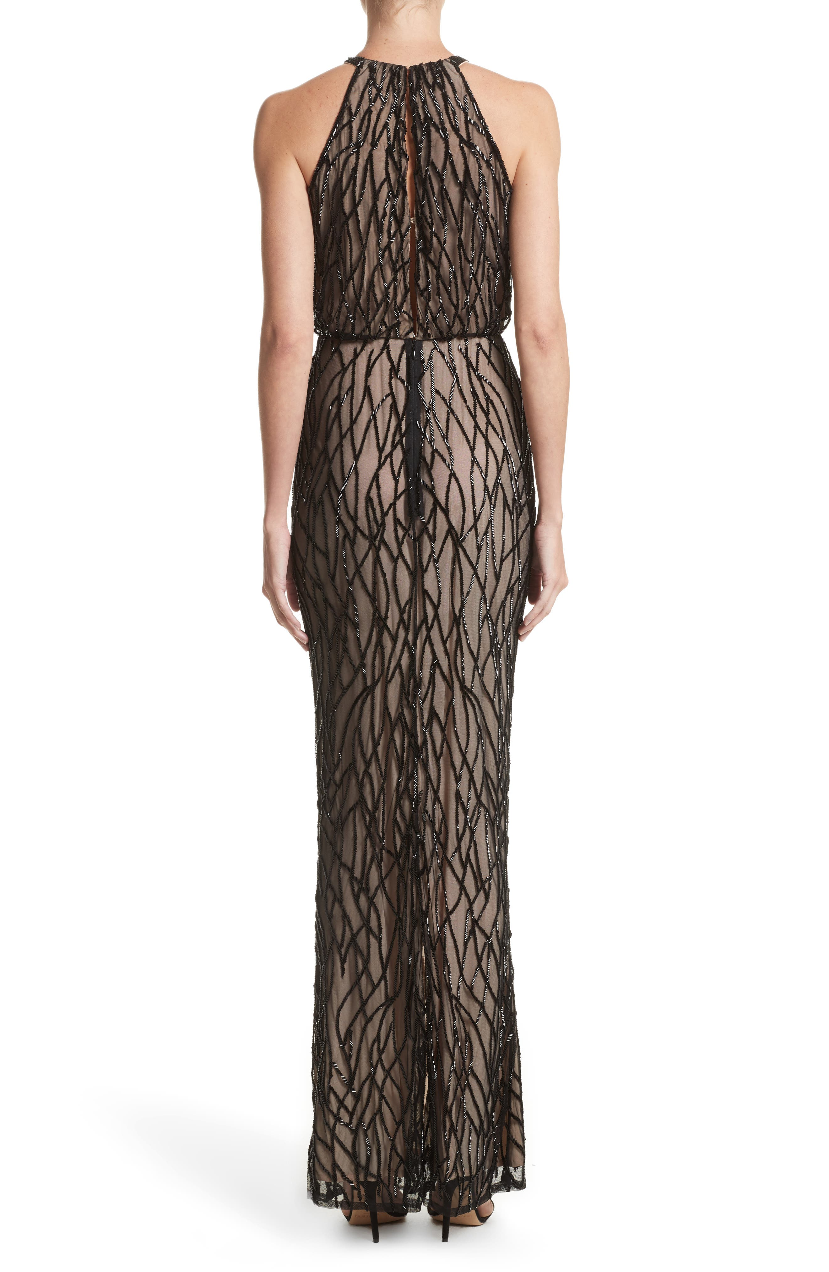 Toriana Beaded Mesh Gown,                             Alternate thumbnail 2, color,                             Black