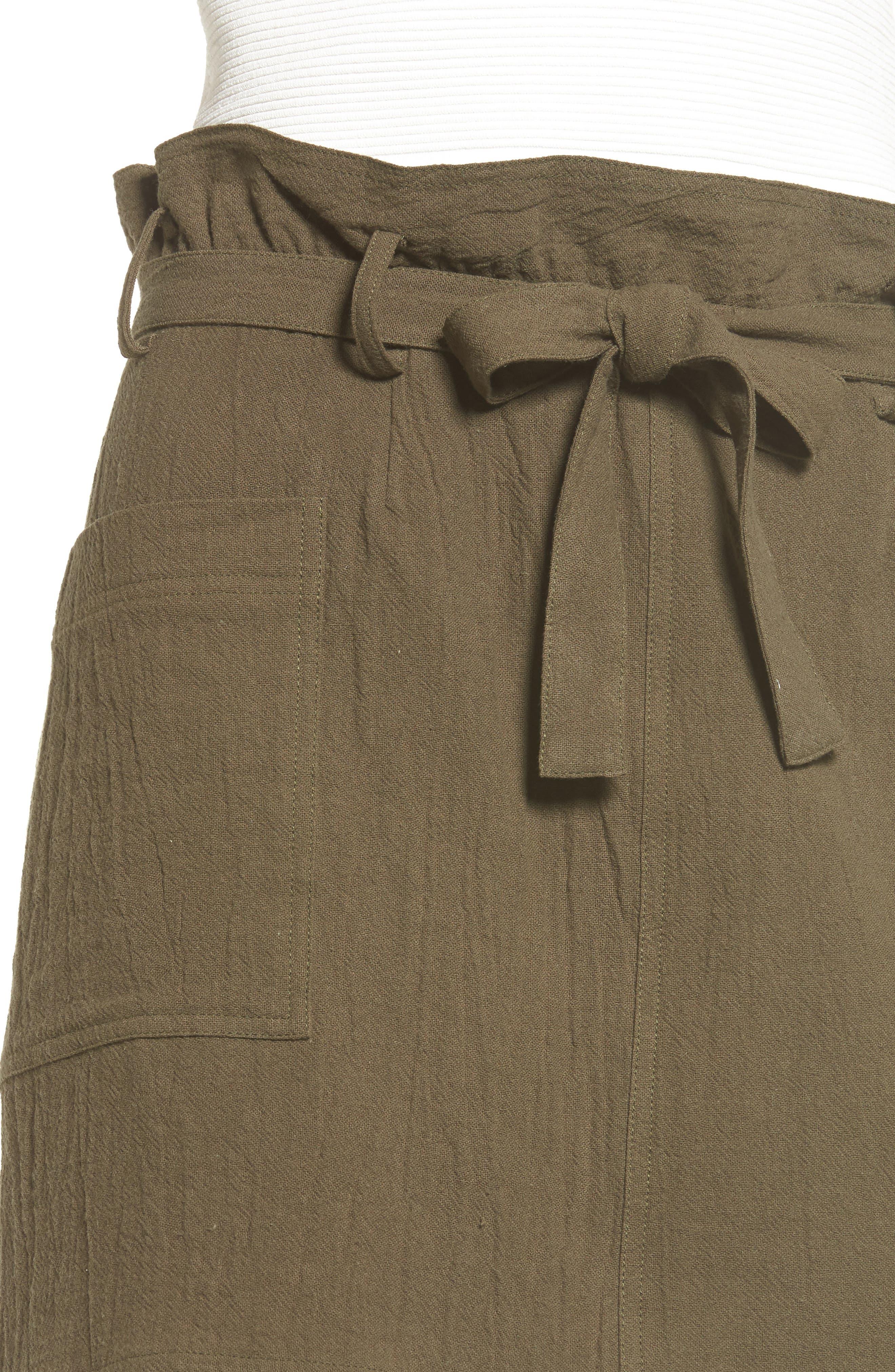 Paperbag Miniskirt,                             Alternate thumbnail 4, color,                             Olive Sarma