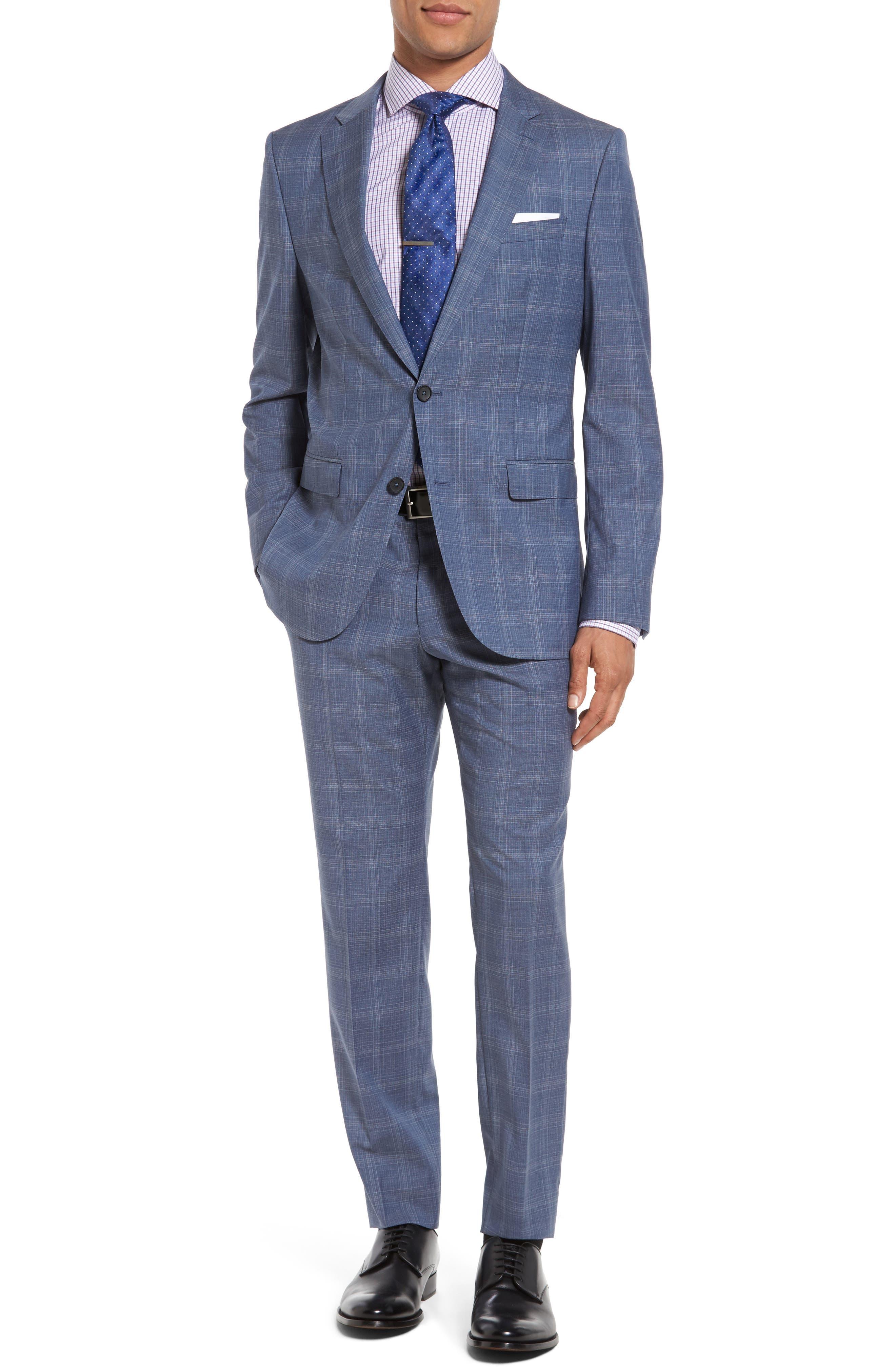 BOSS Novan/Ben 10 Trim Fit Plaid Wool Suit