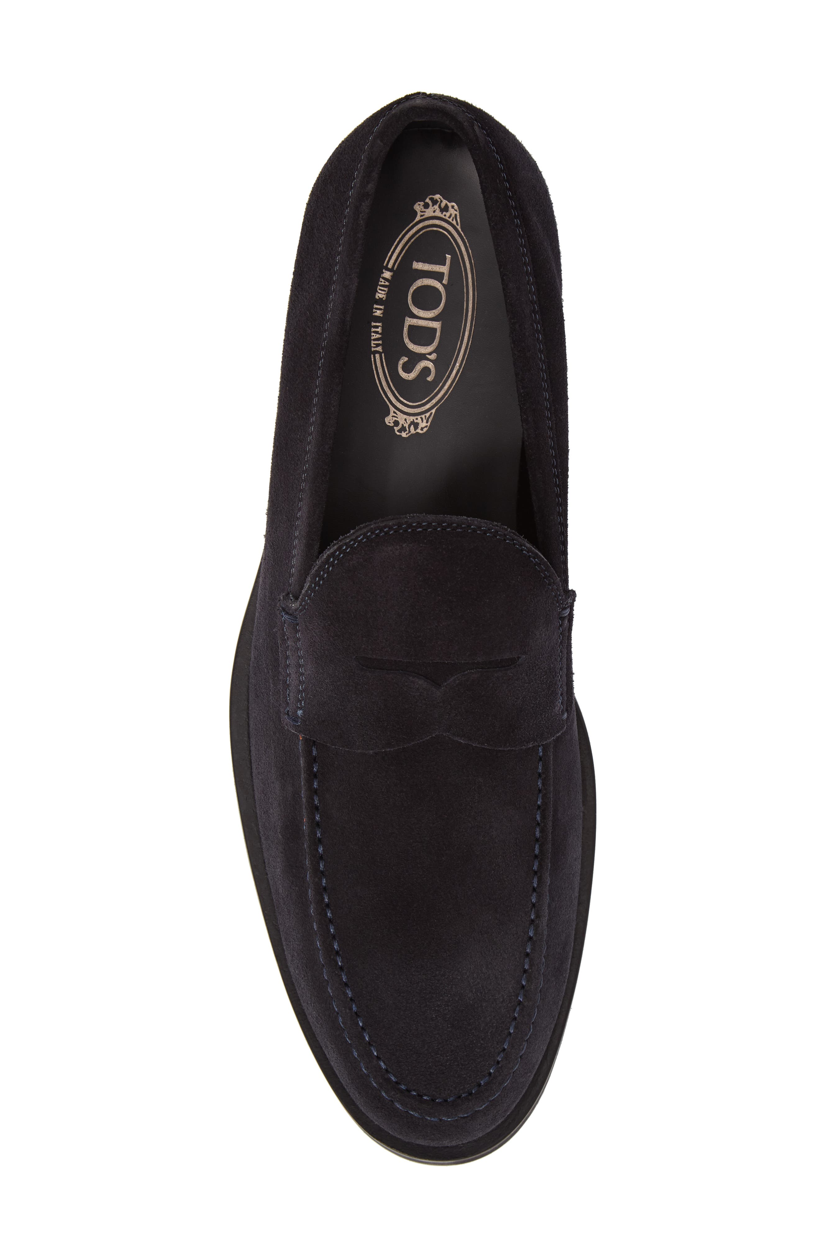 Penny Loafer,                             Alternate thumbnail 5, color,                             Navy Suede