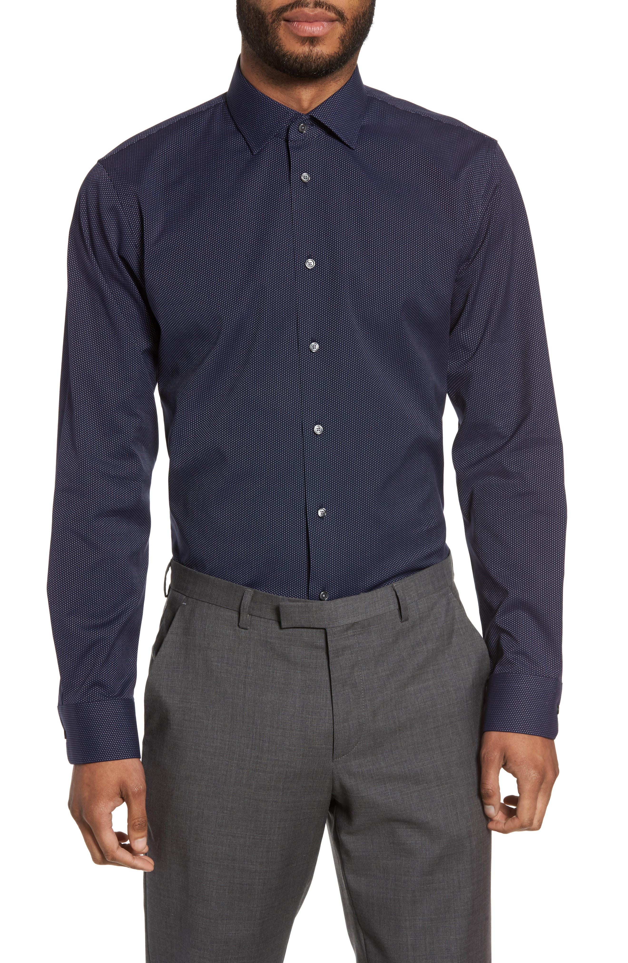Trim Fit Non-Iron Microdot Dress Shirt,                             Alternate thumbnail 2, color,                             Navy Peacoat
