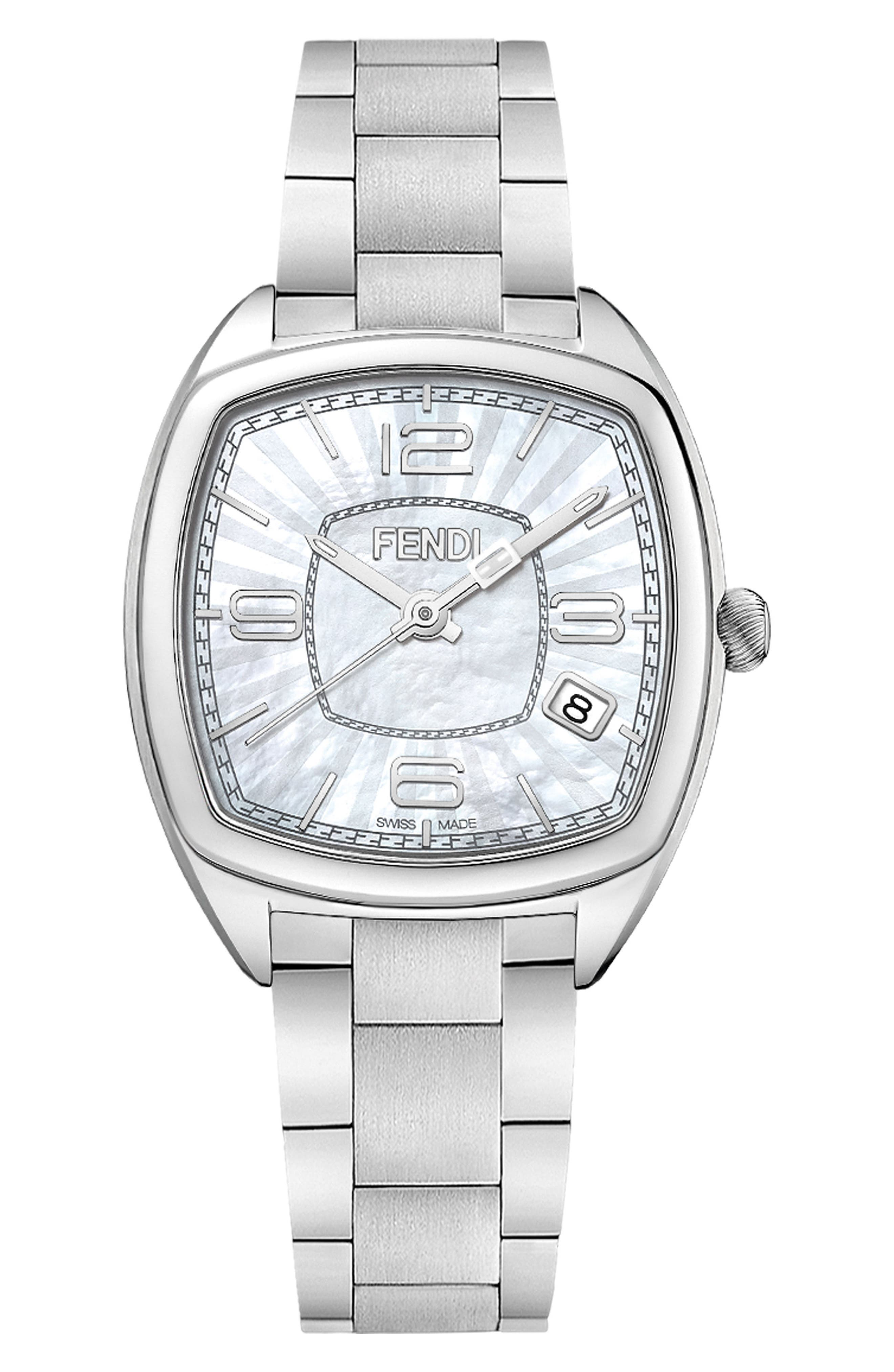 Momento Square Bracelet Watch, 32mm,                         Main,                         color, Silver/ Mop/ Silver
