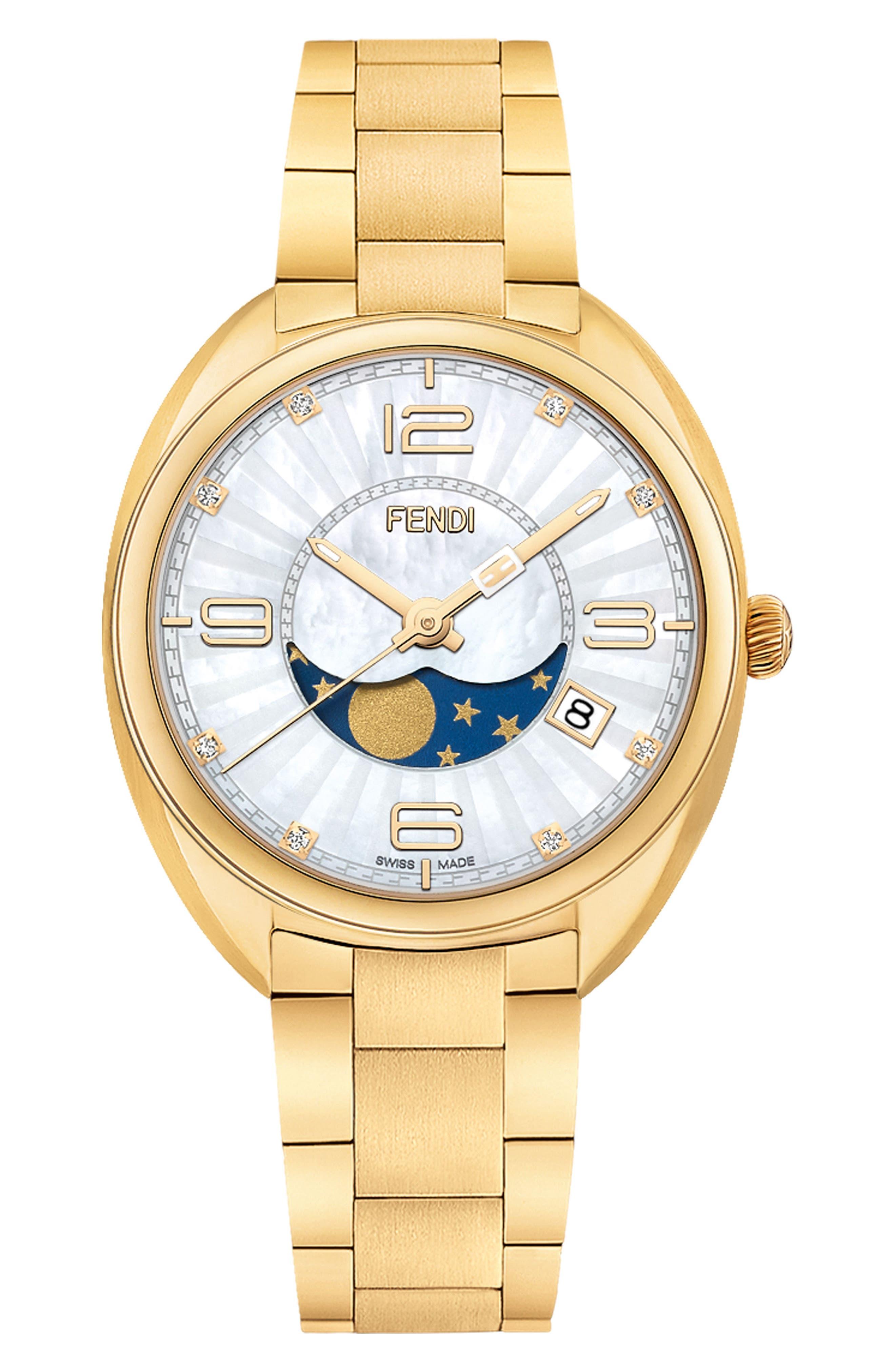 Momento Diamond Bracelet Watch, 34mm,                             Main thumbnail 1, color,                             Gold/ Mop/ Gold