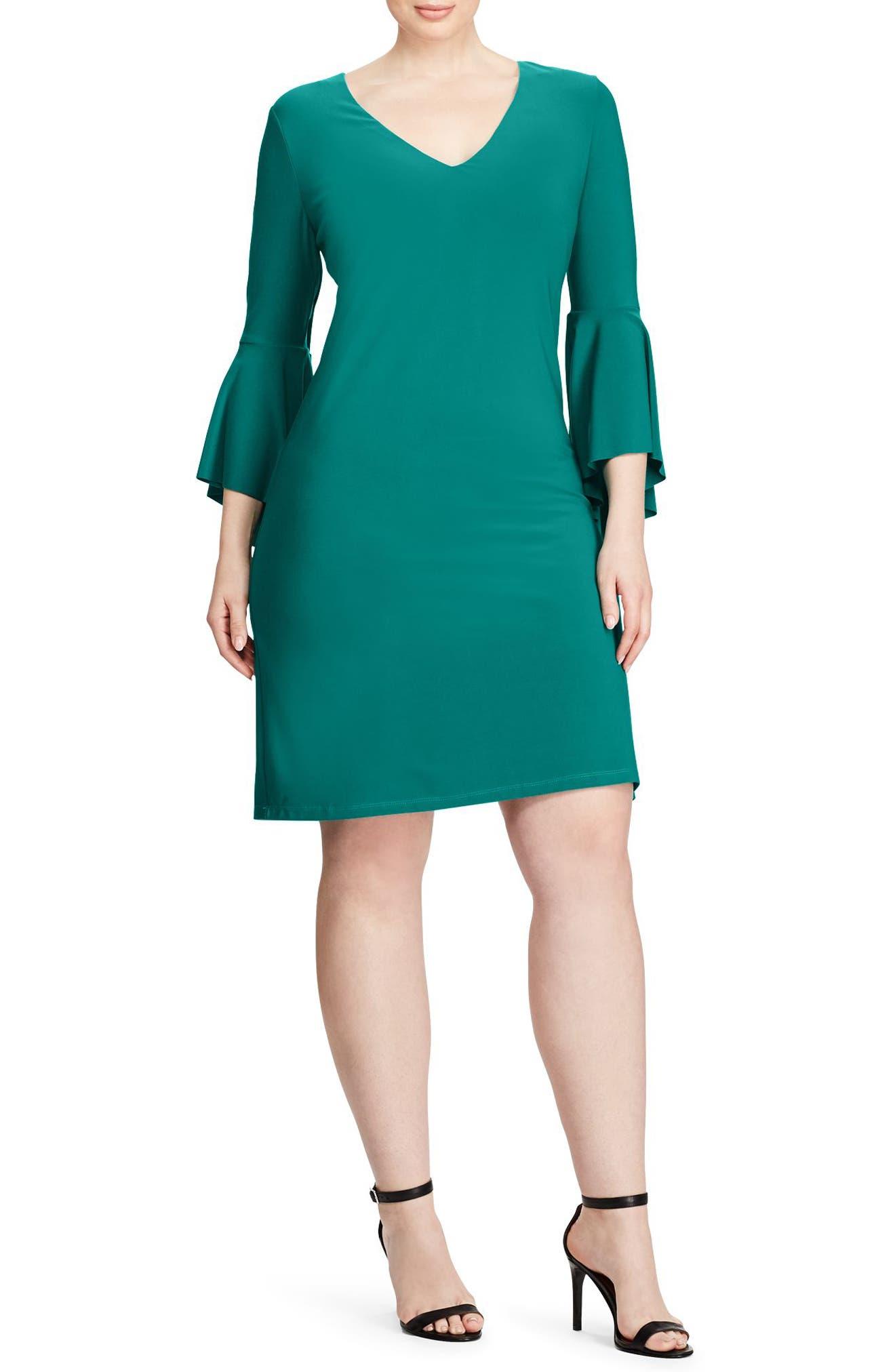 Flounce Sleeve Jersey Dress,                         Main,                         color, Ocean Emerald