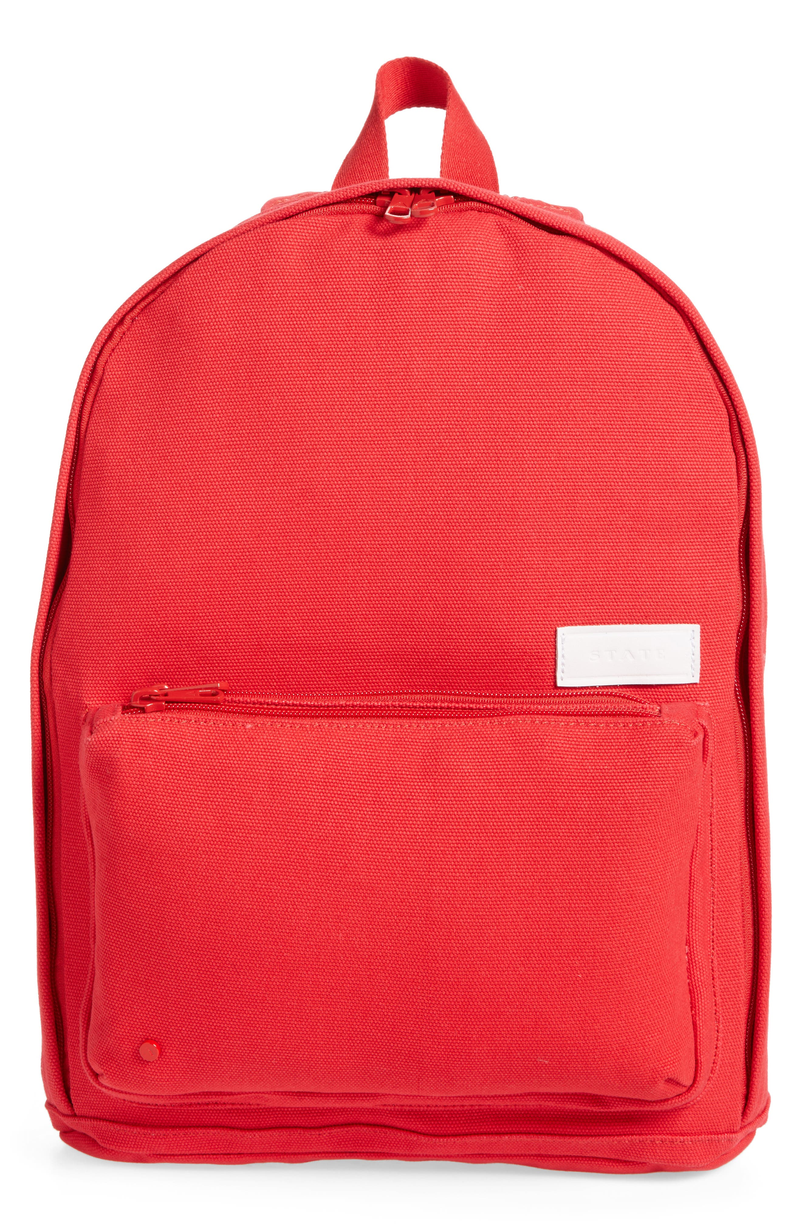Slim Lorimer Water Resistant Canvas Backpack,                             Main thumbnail 1, color,                             Red