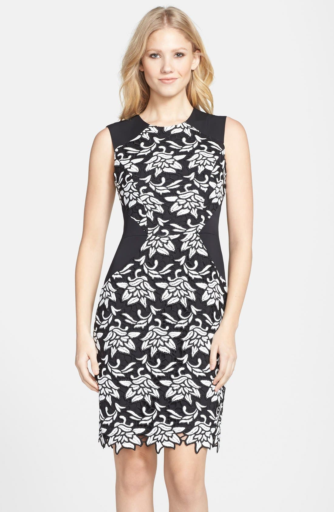 'Laurine' Floral Lace Overlay Sheath Dress,                             Main thumbnail 1, color,                             Black White