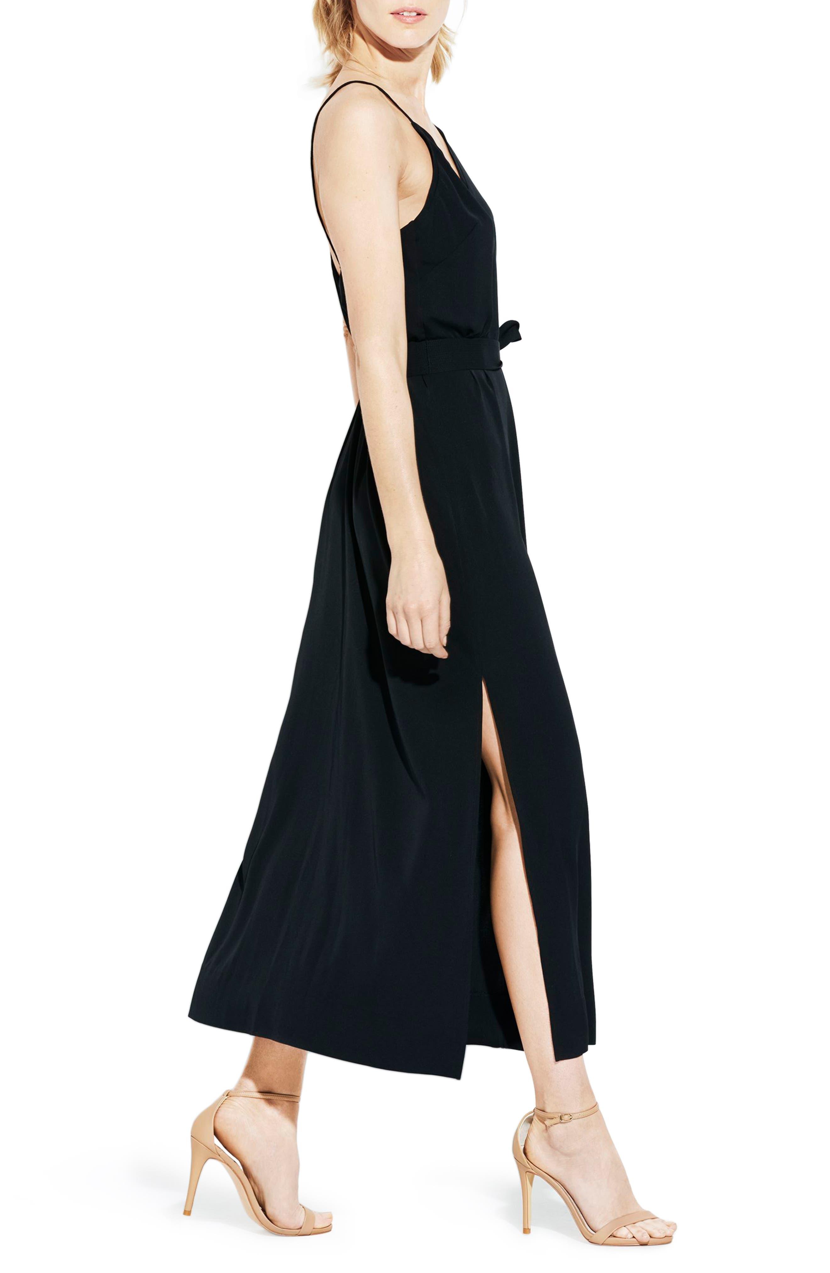 The Niche Silk Dress,                             Alternate thumbnail 3, color,                             Black