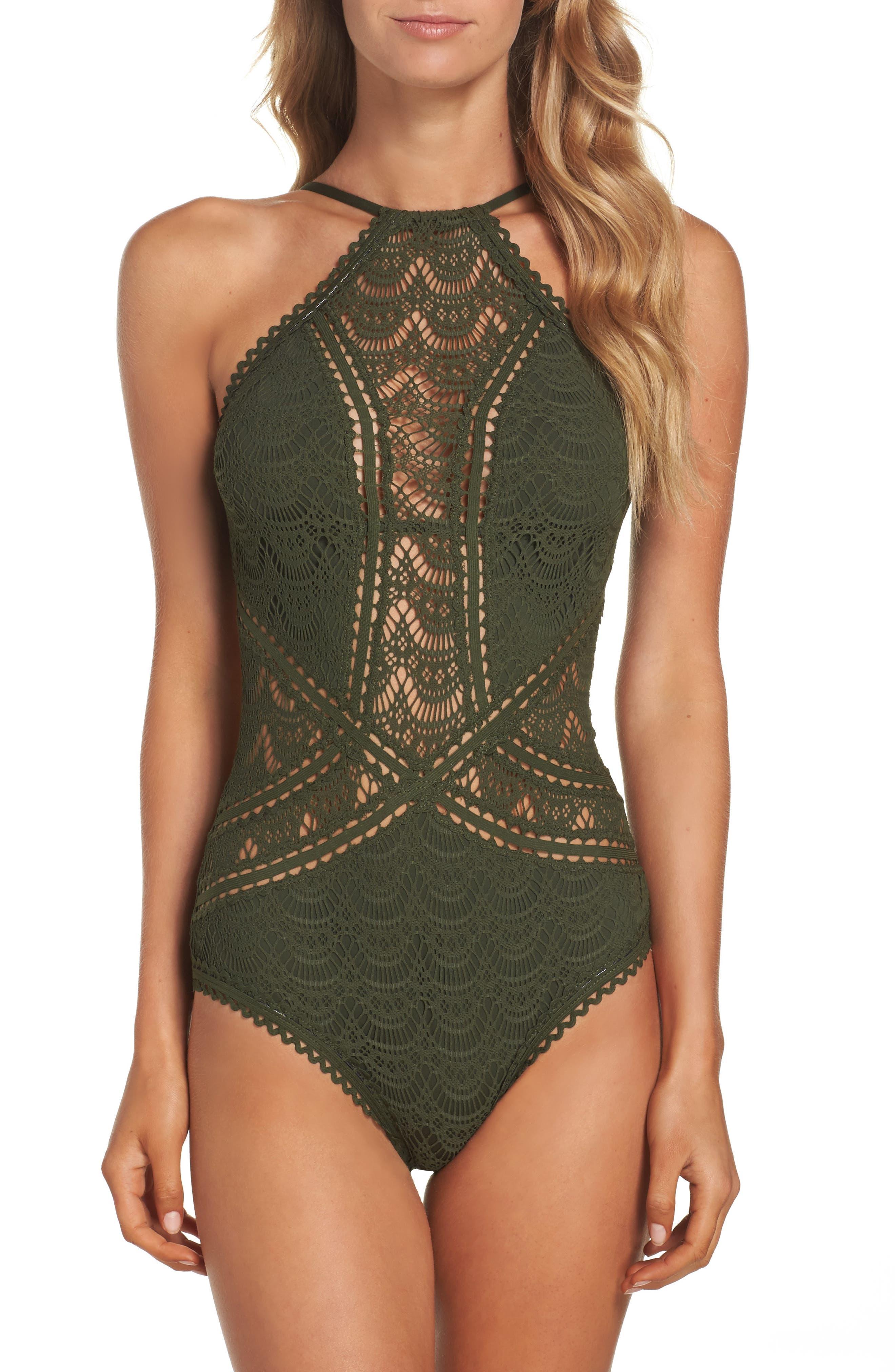 Main Image - Becca Crochet One-Piece Swimsuit