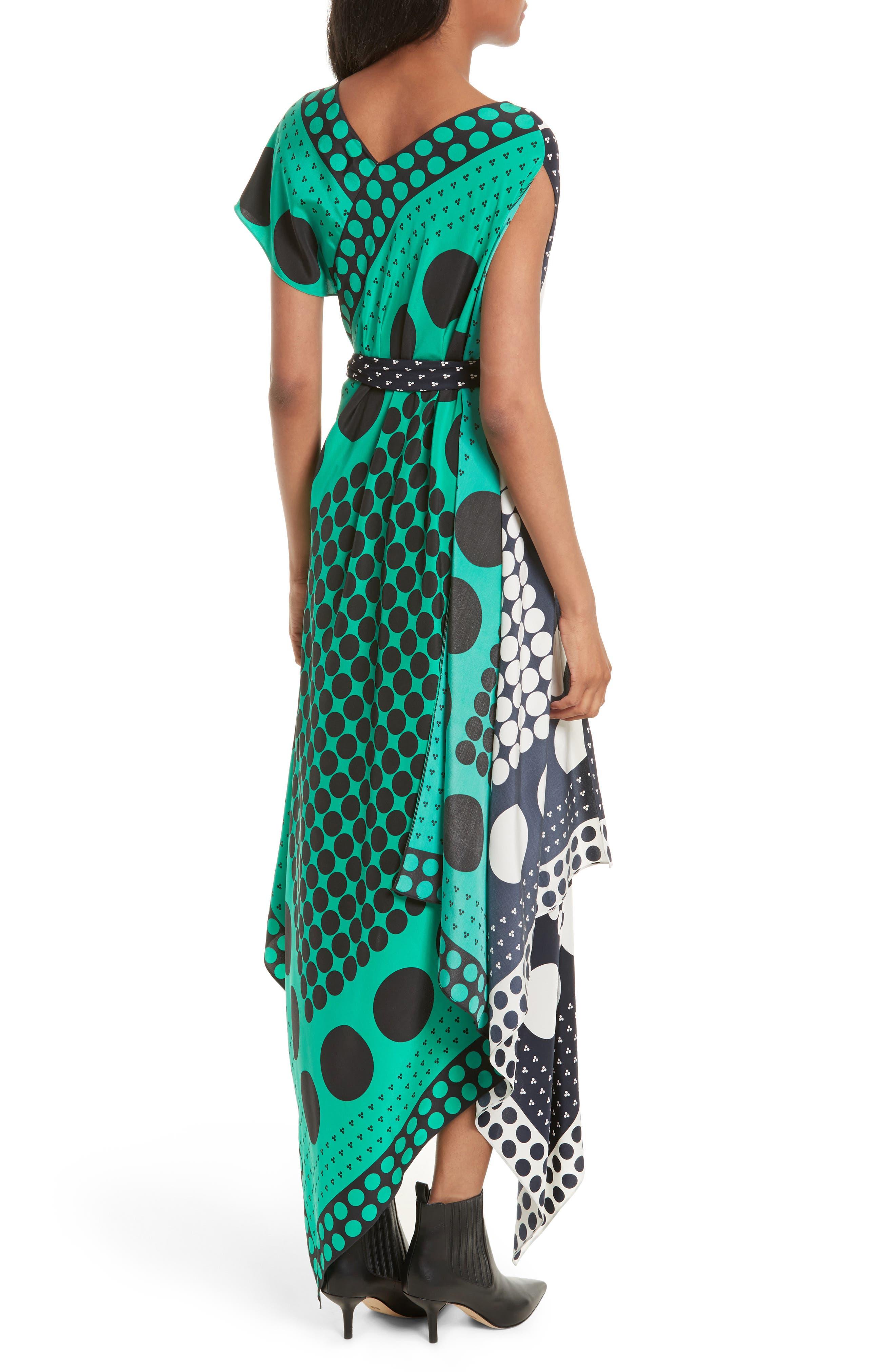 Asymmetrical Scarf Maxi Dress,                             Alternate thumbnail 2, color,                             Brunel Navy/ Evergreen