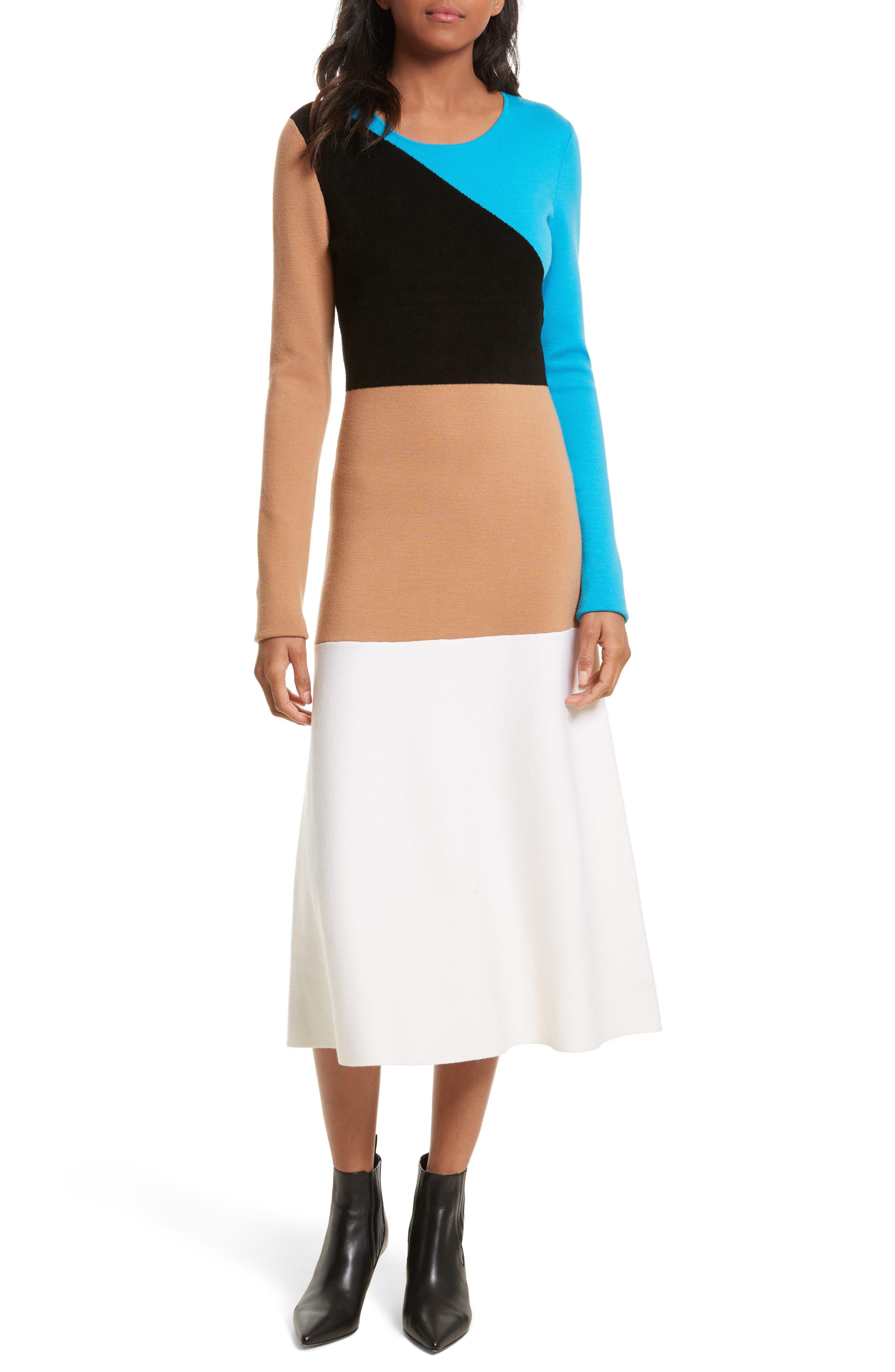 Crewneck Flare Knit Dress,                         Main,                         color, Cerulean Multi