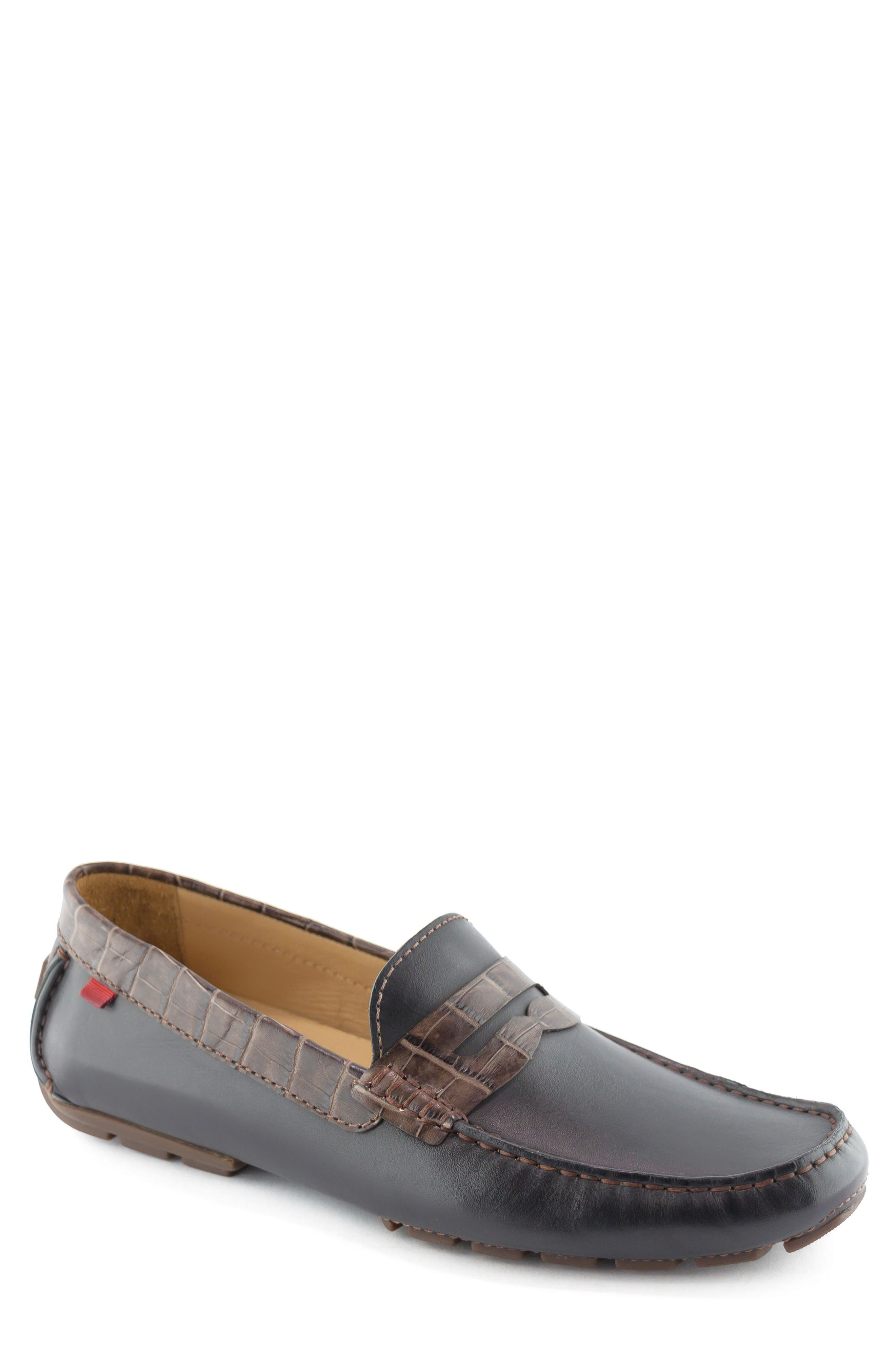 'Union Street' Penny Loafer,                             Main thumbnail 1, color,                             Black/ Brown