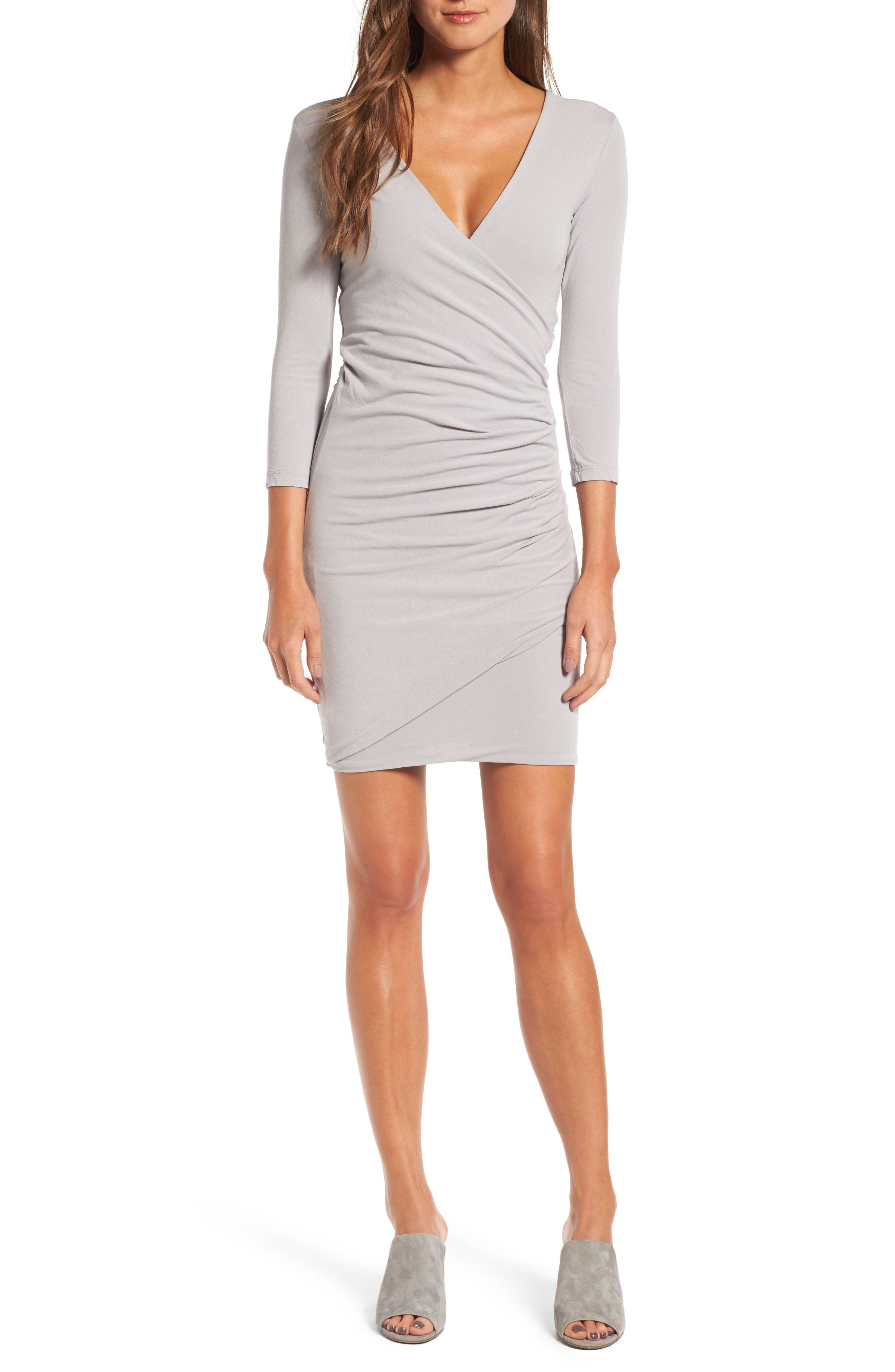 Alternate Image 1 Selected - James Perse Tucked Faux Wrap Dress