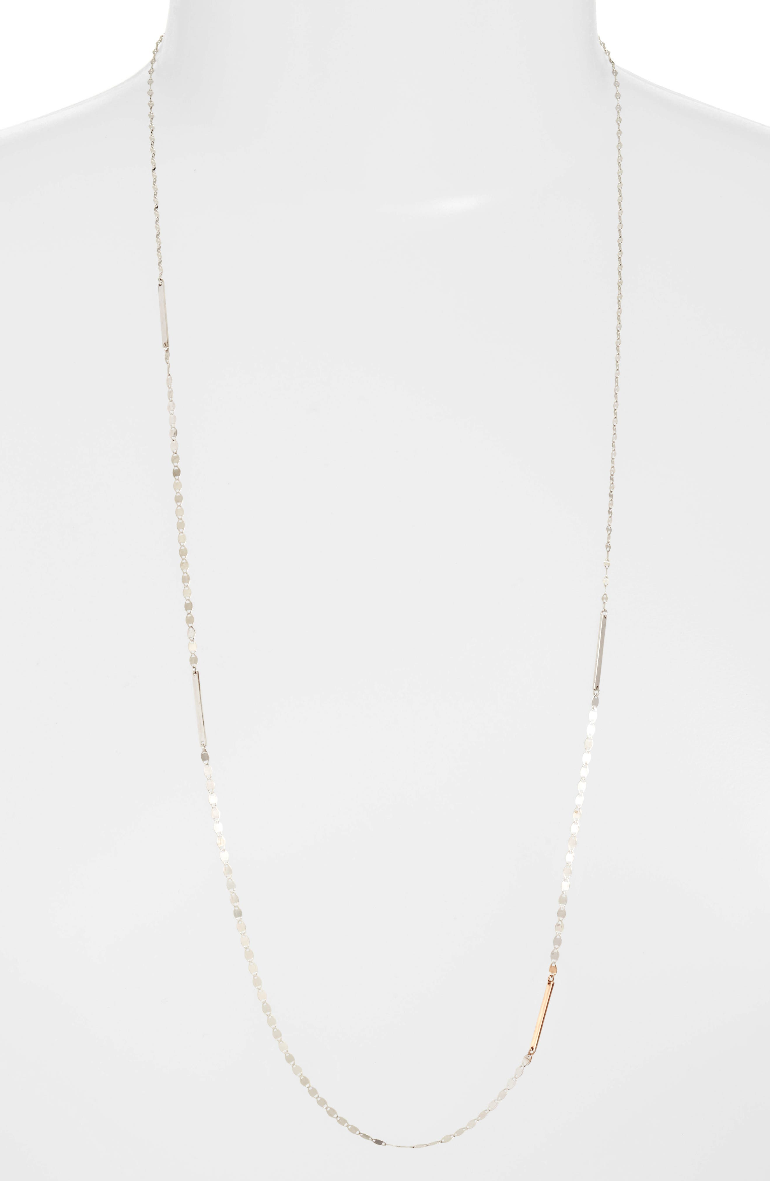 Nude Remix Bar Long Necklace,                         Main,                         color, White Gold