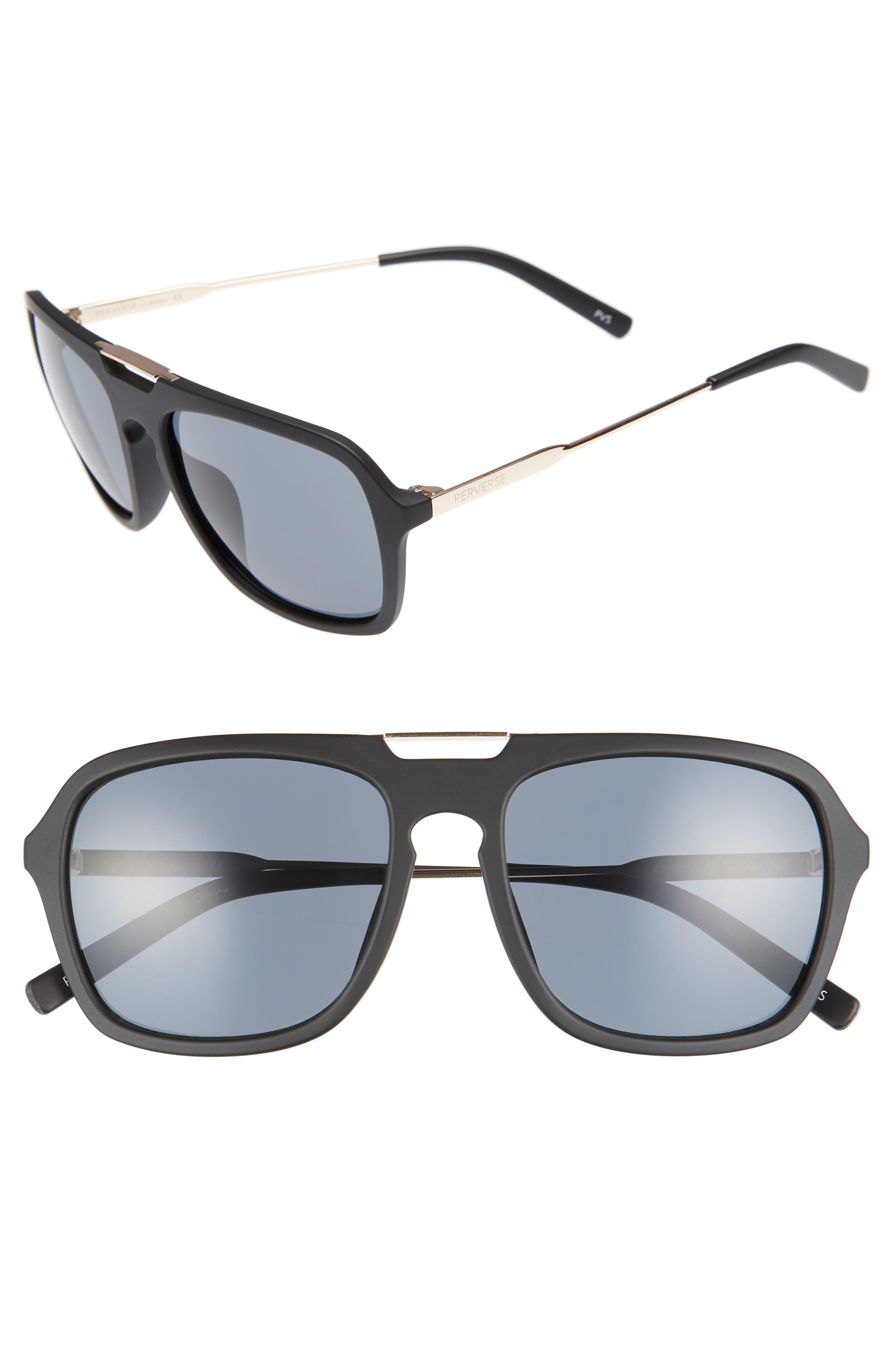 Chillax 55mm Polarized Aviator Sunglasses,                         Main,                         color, Black/ Black