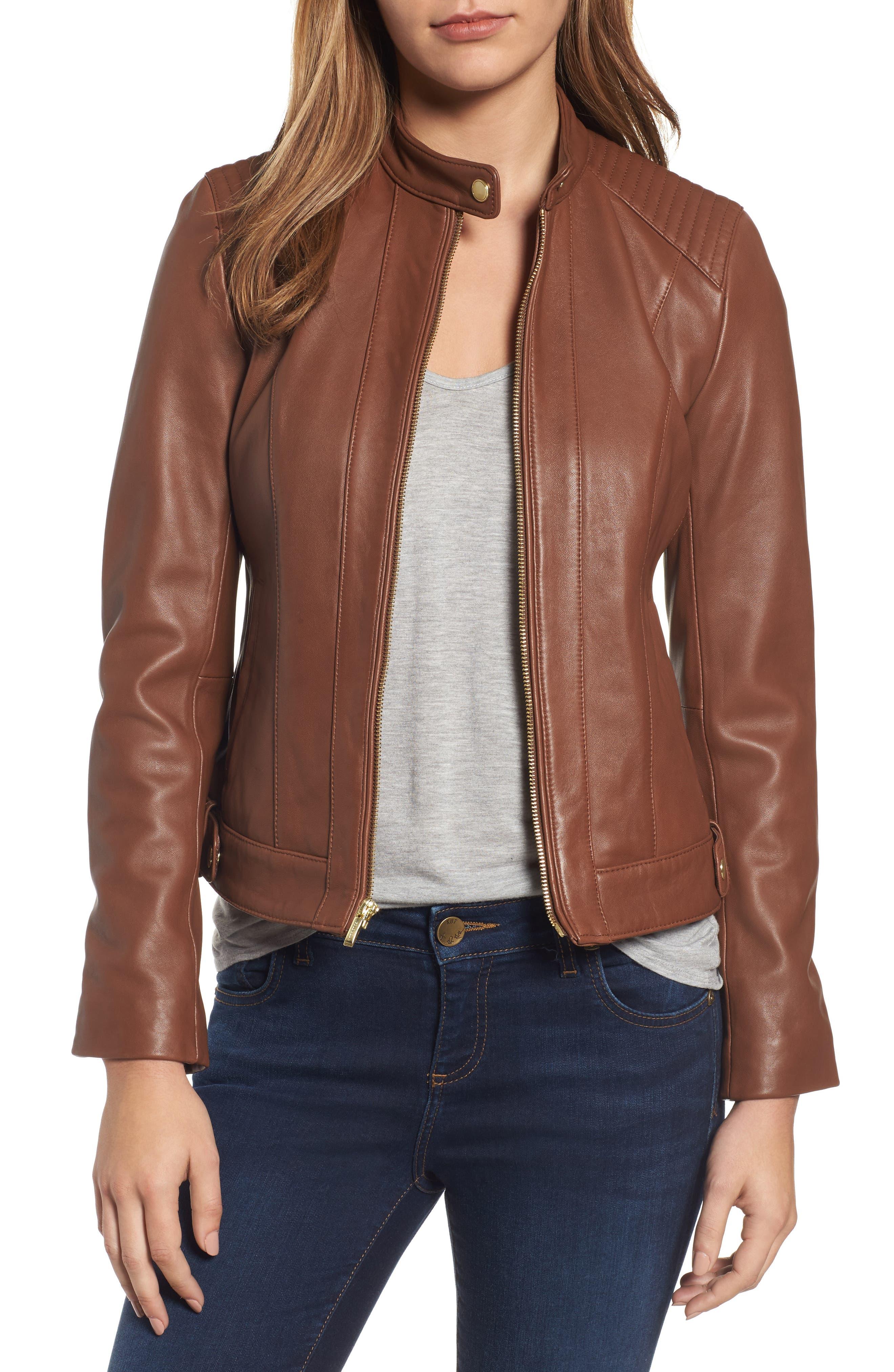 Leather Moto Jacket,                         Main,                         color, Chestnut