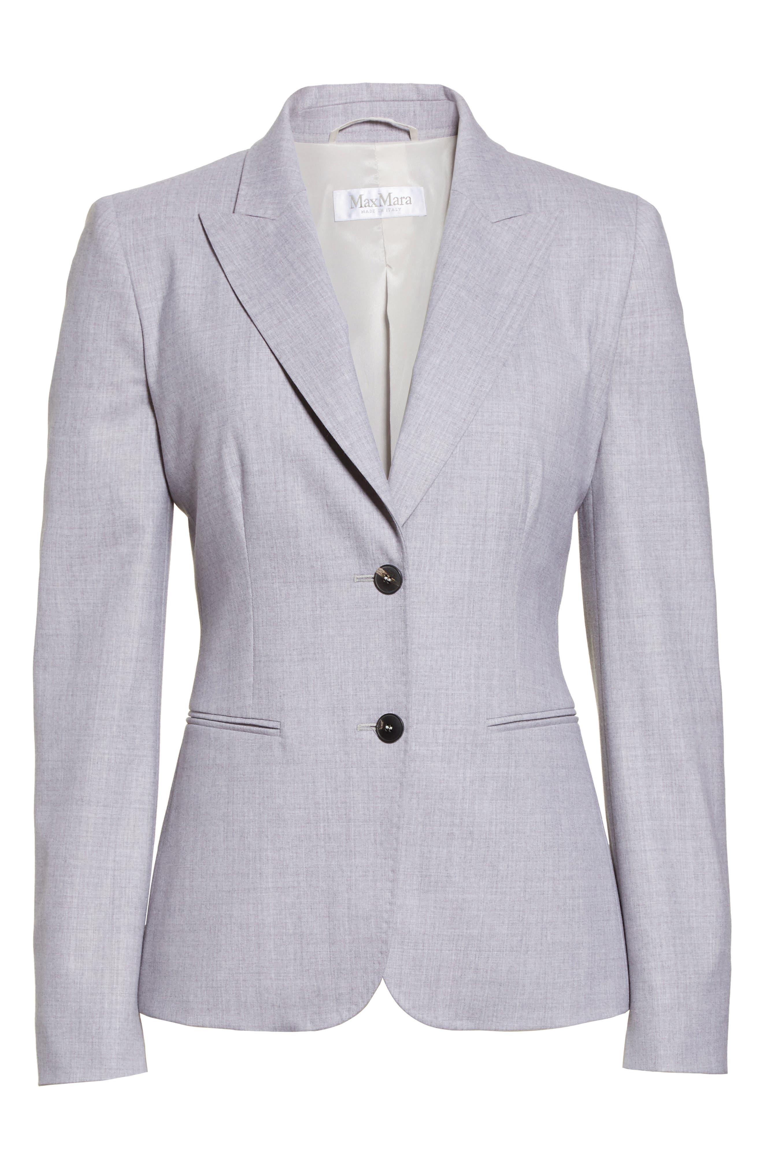 Stretch Wool Jacket,                             Alternate thumbnail 4, color,                             Light Grey